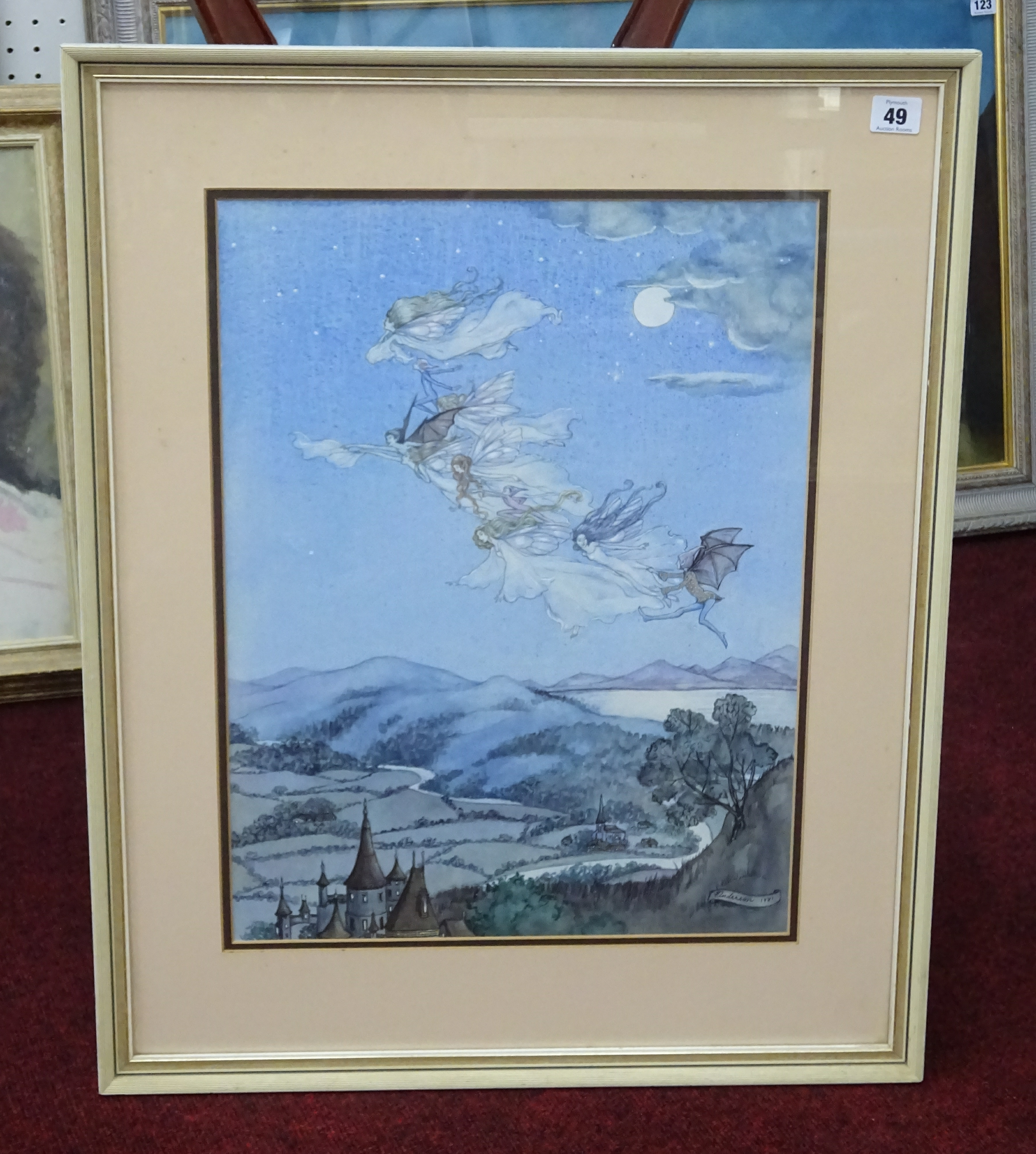 Lot 049 - Anderson, watercolour of fairys, signed and dated 1981, 50cm x 37cm.