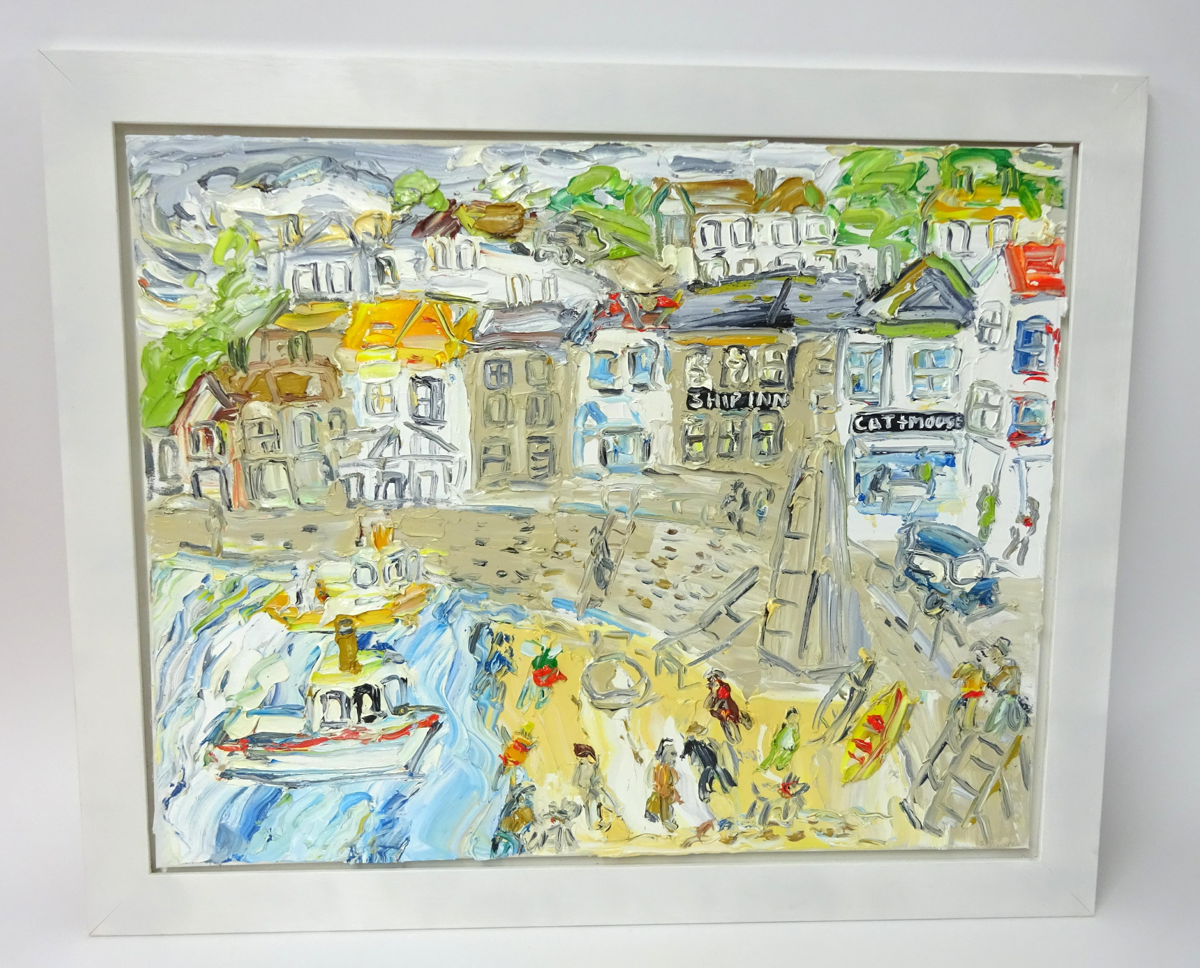 Lot 007 - Sean Hayden, oil on canvas 'Mousehole Harbour' (2017), signed in floating wood frame, 60cm x 77cm,