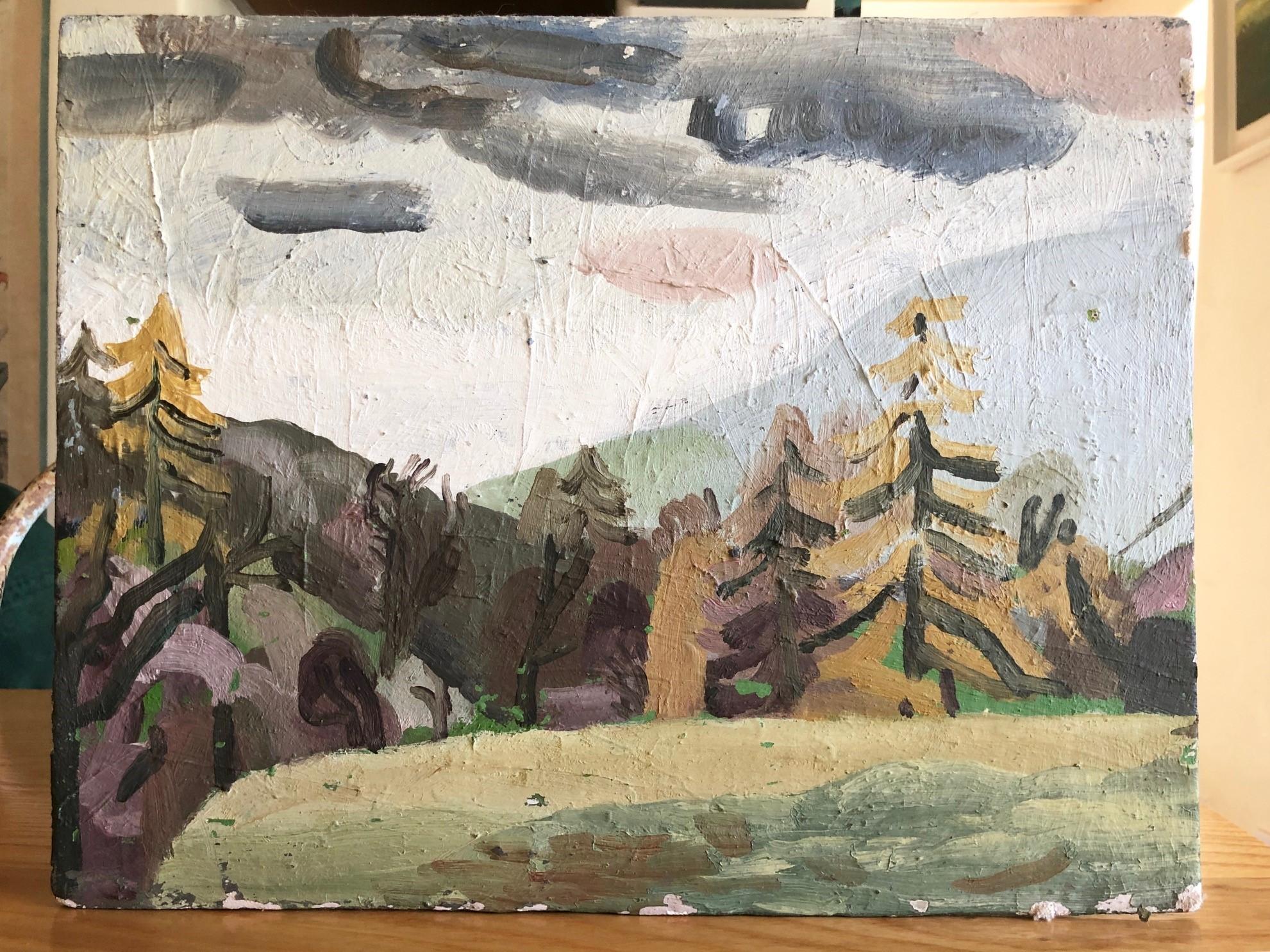 Lot 045 - Henry John (Ruskin School of Art, great grandson of Augustus John), oil on board, 'Olchon Valley',