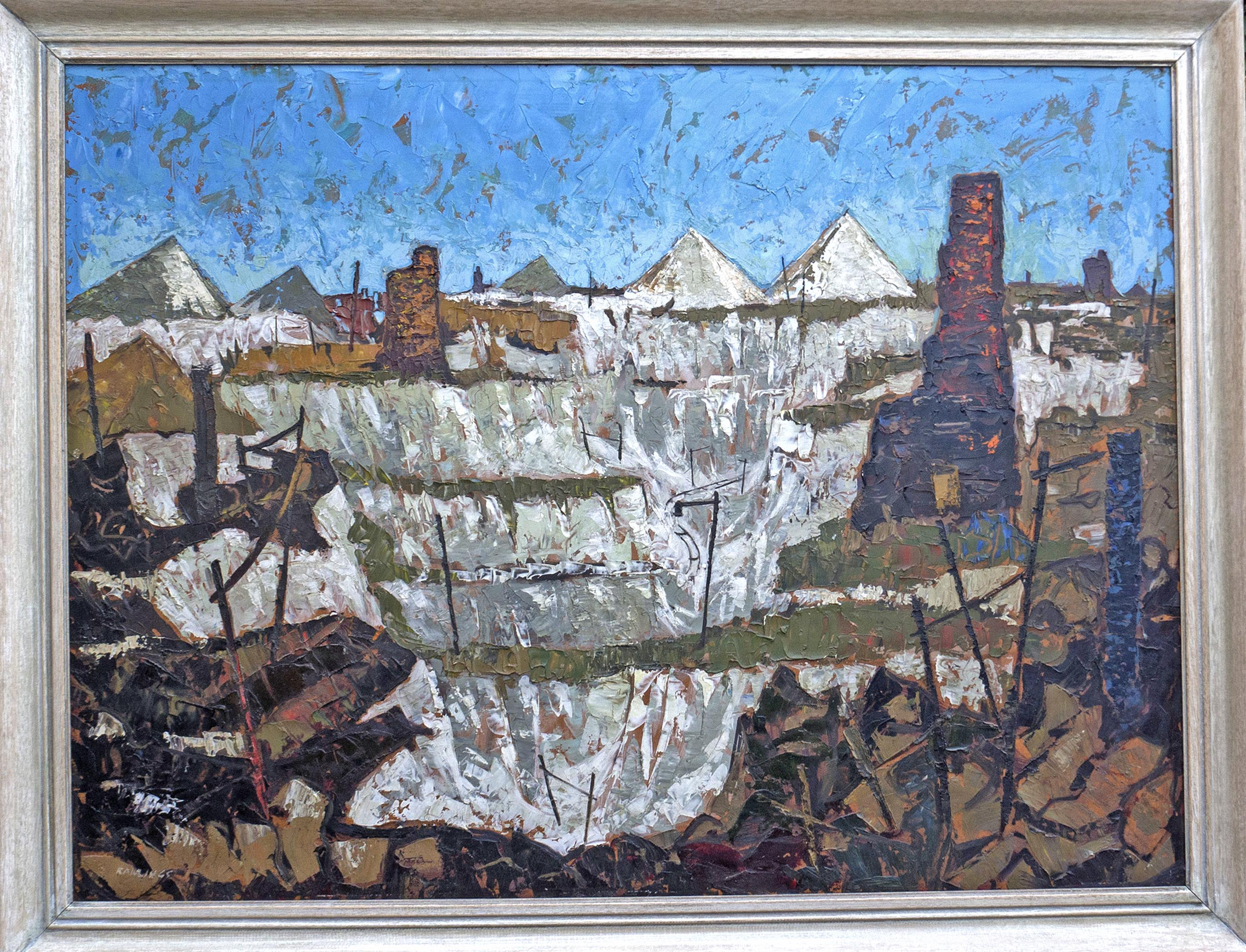 Lot 003 - Douglas M Rawlings (1921 2003) oil on board 'Landscape of the China Clay open mining works near St