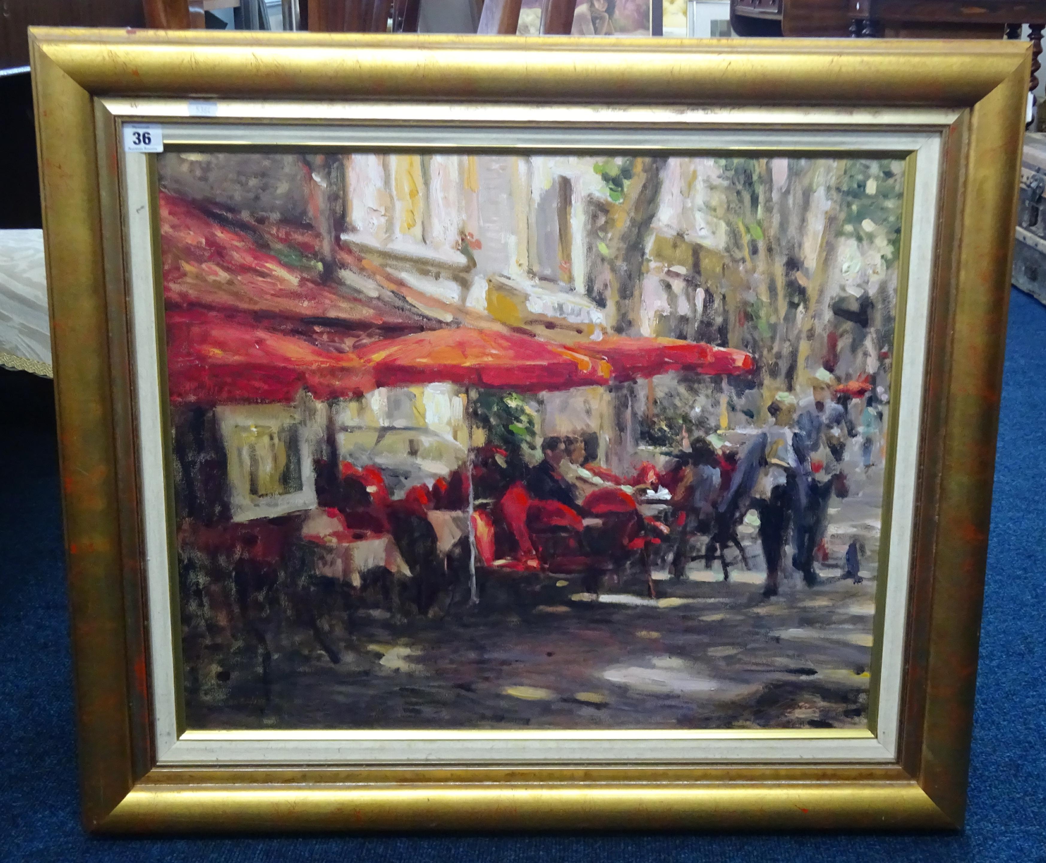 Lot 036 - Leonard Wren, limited edition embellished giclee 'Café au provenance', framed, 61cm x 50cm.