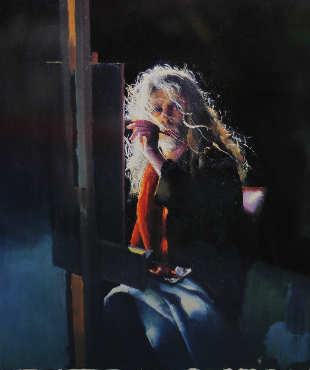 Lot 058 - Robert Lenkiewicz (1941-2002), signed print 'Painter in the wind 3:50am', 42cm x 35cm, framed and