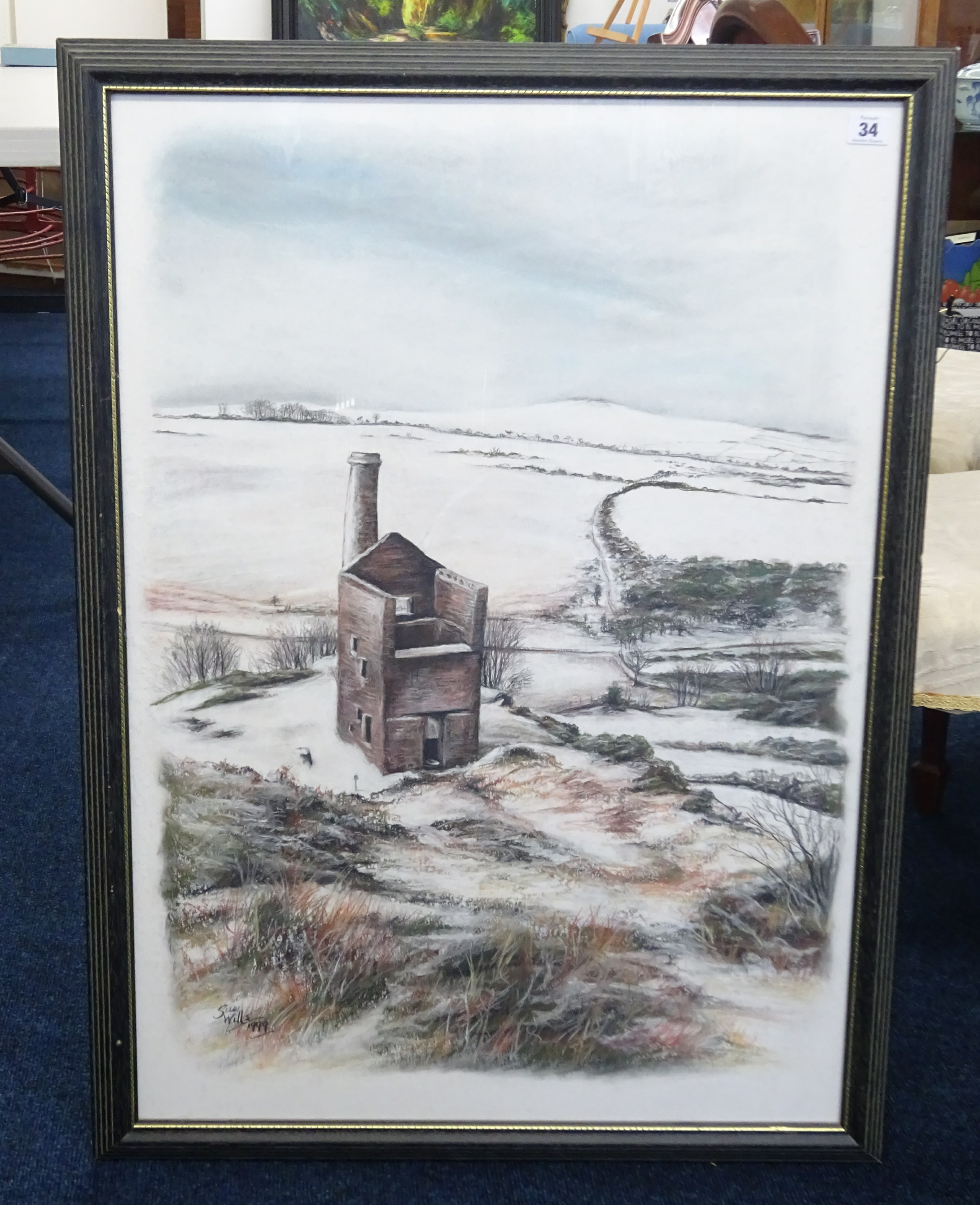 Lot 034 - Sue Wills (Plymouth artist) mixed media, 'Tin Mine Landscape' signed and dated 1999, framed and