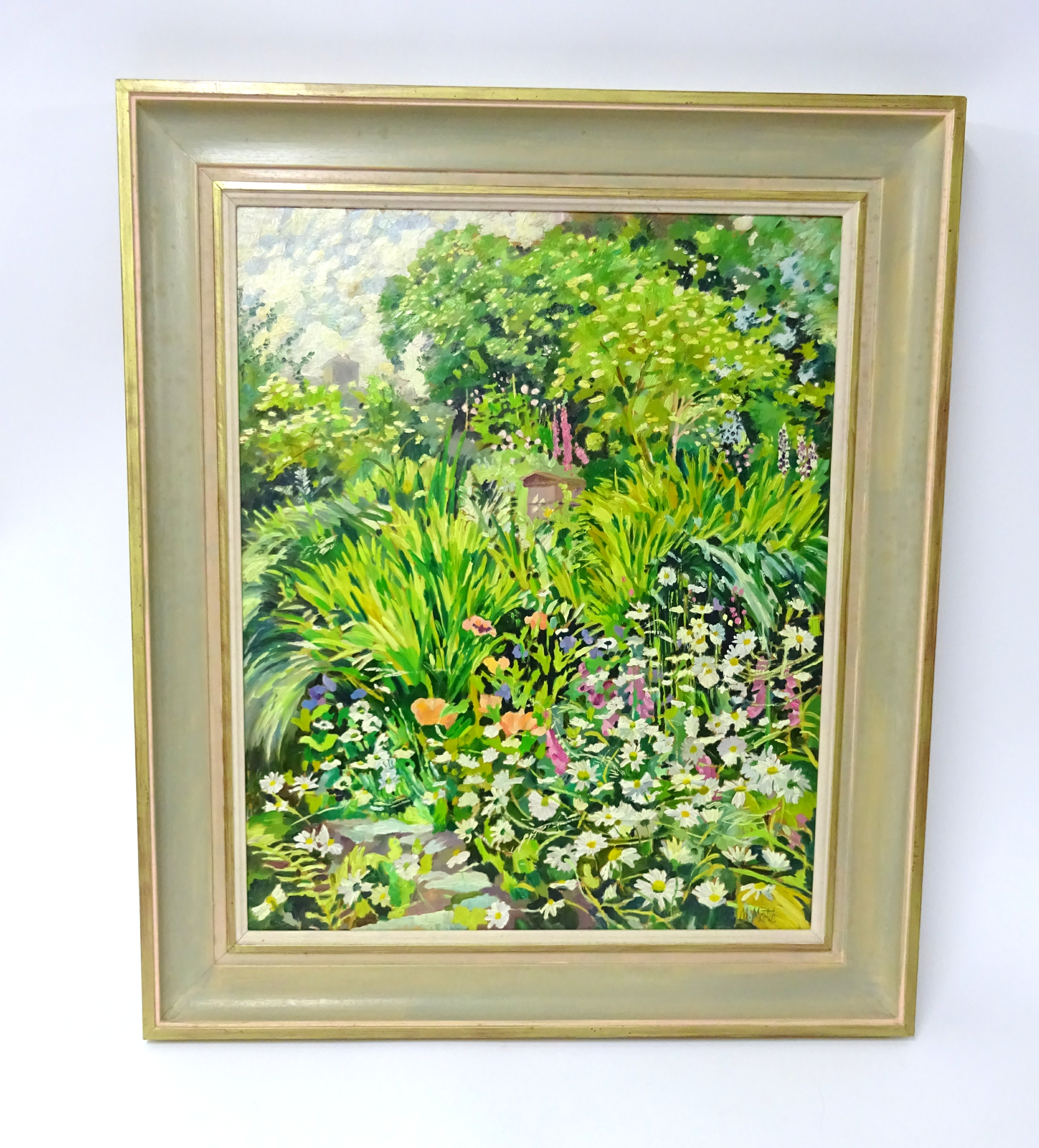 Lot 001 - Mary Martin (b1951) oil on board, 'Flowers and Trees', signed, 54cm x 56cm, Mary Martin studied at