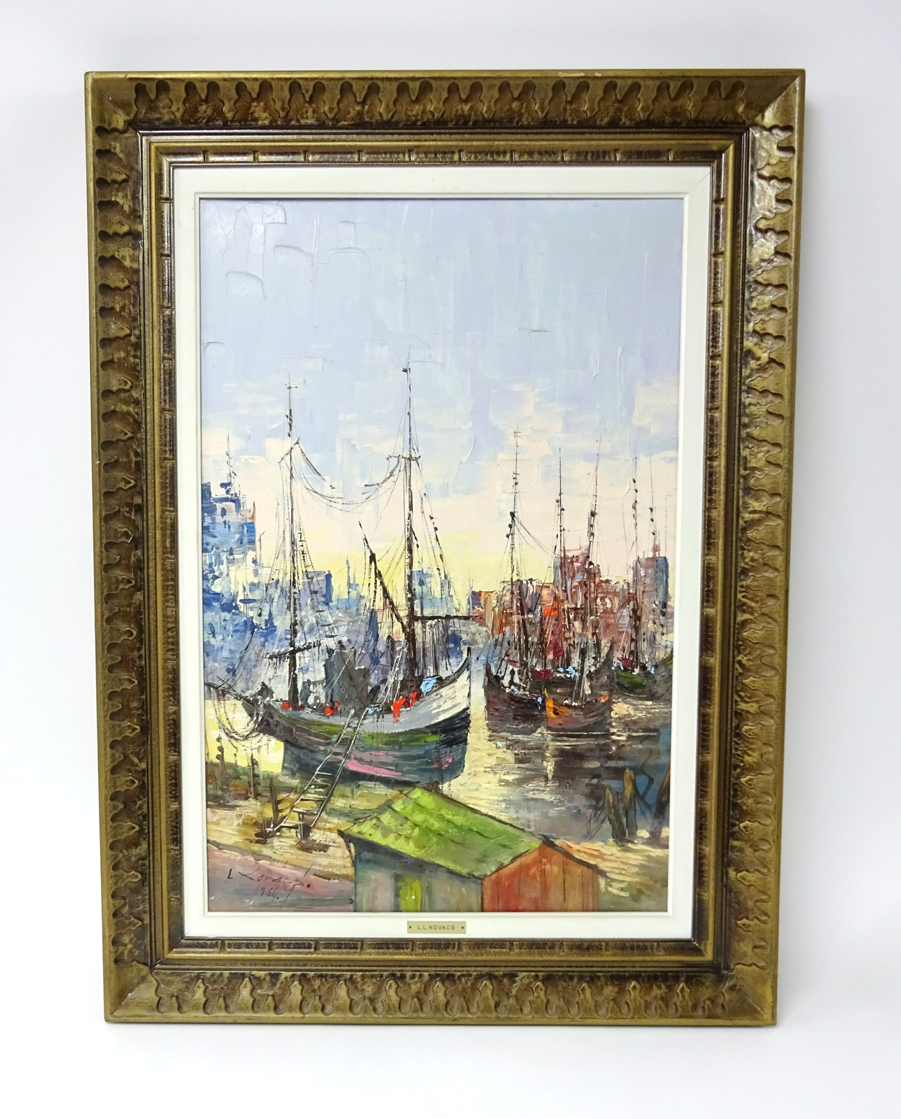 Lot 009 - Levente Kovacs (b1922), signed oil on canvas 'Boats in a harbour', framed, 76cm x 50cm.