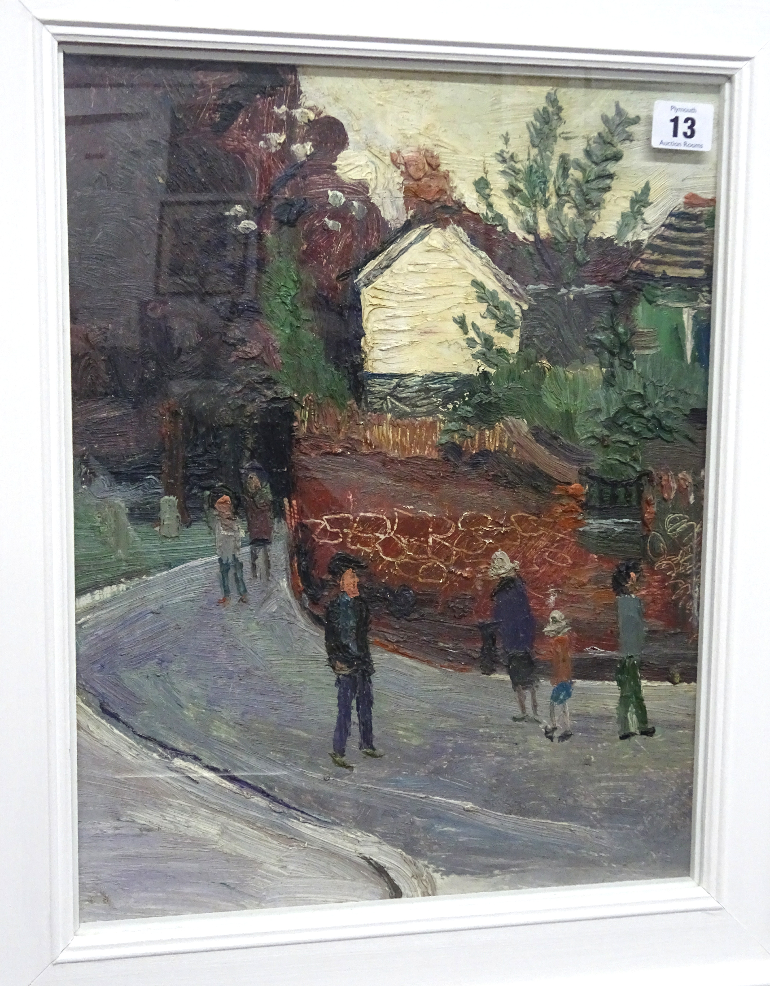 Lot 013 - Fred Yates (1922-2008), oil on board 'The White House', with paper label verso 'Thompson Gallery,