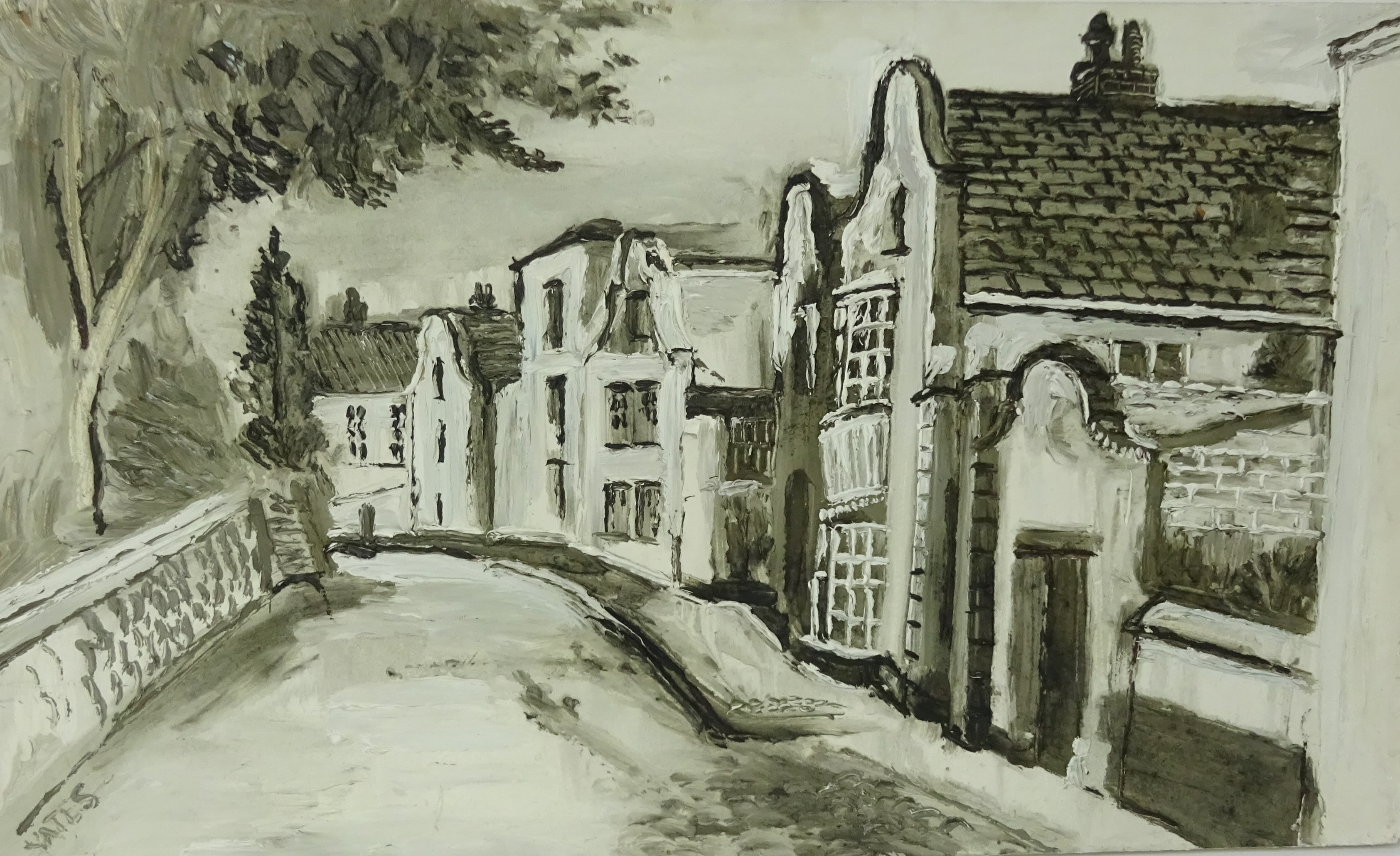 Lot 017 - Fred Yates (1922-2008), monotone oil on board, 'Street Scene', signed, 48cm x 80cm.