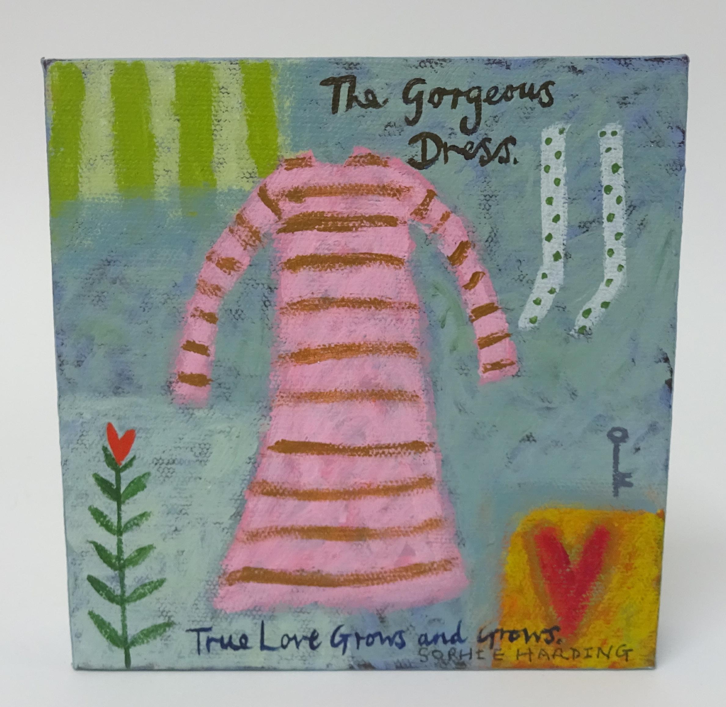 Lot 035 - Sophie Harding, miniature oil on box canvas 'The Gorgeous Dress', signed, 16cm x 15cm.