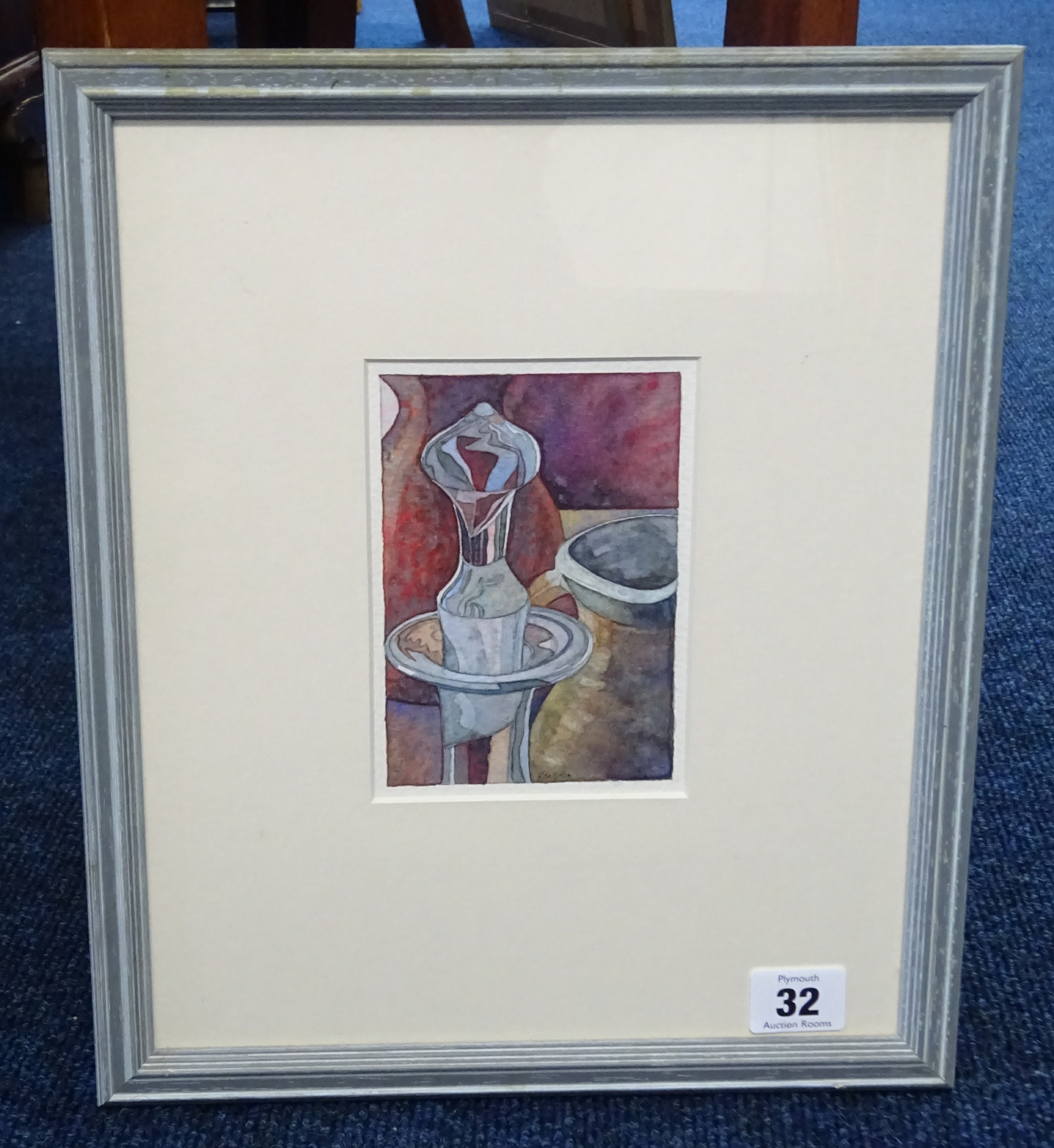 Lot 032 - Rita Smith, watercolour 'Decanter Stopper', signed, framed and glazed, 13cm x 8.50cm.