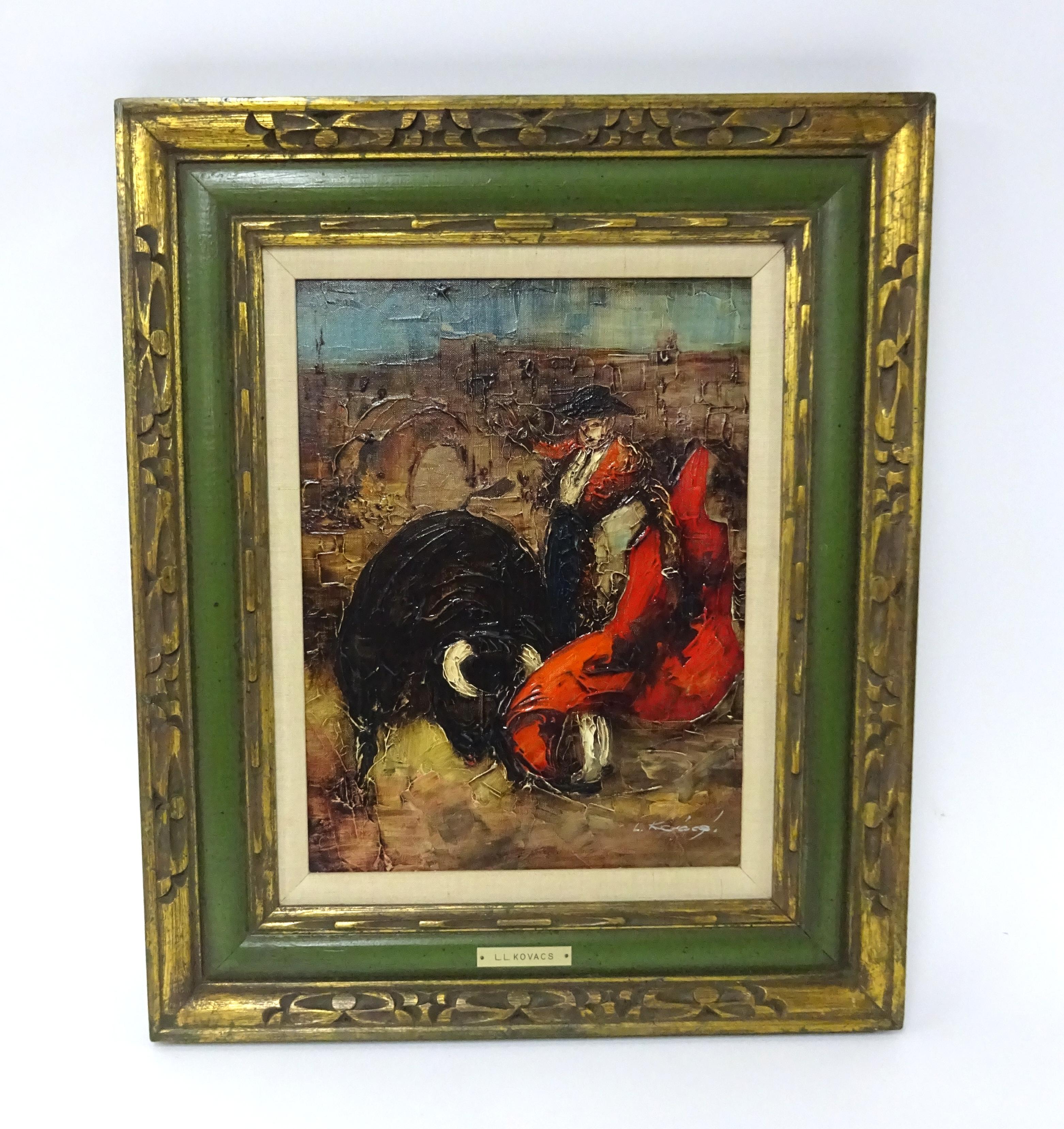 Lot 033 - Levente Kovacs (b1922), oil on canvas 'Spanish bull fighter', signed, 40cm x 30cm.