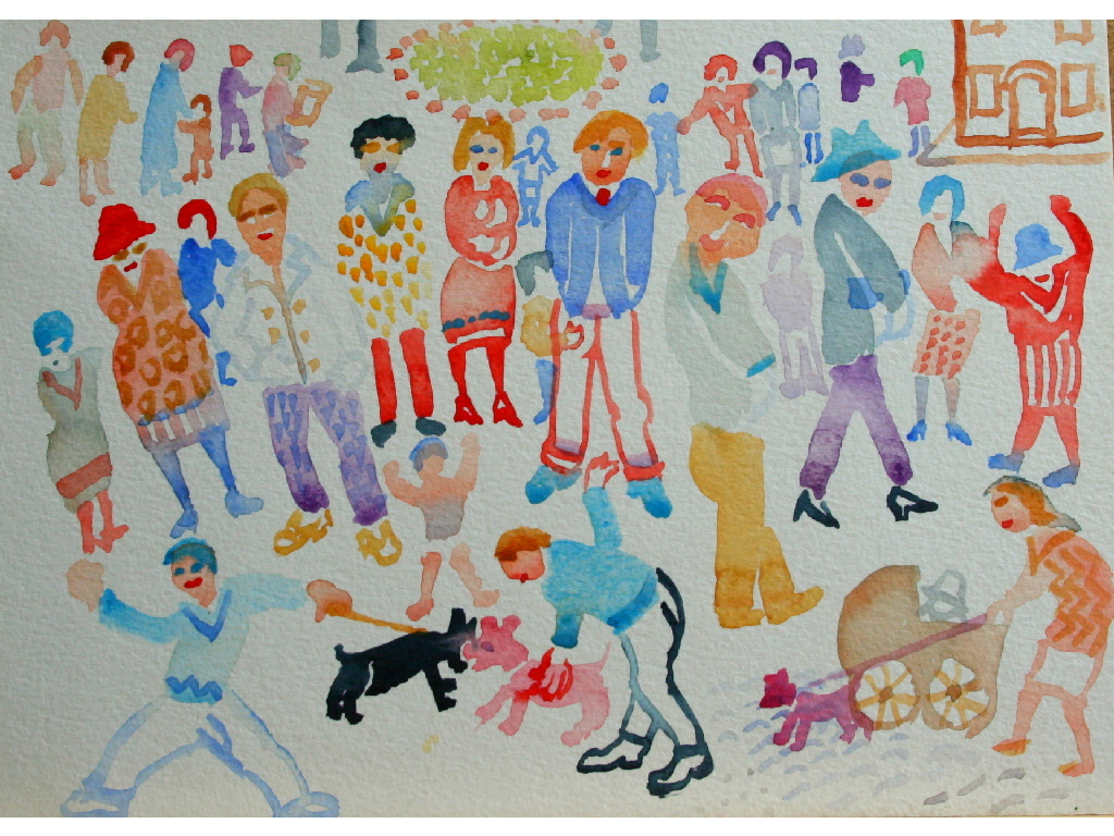 Lot 015 - Fred Yates (1922-2008) watercolour, 'Lady with pram, figures with dogs', framed and glazed, 18cm x