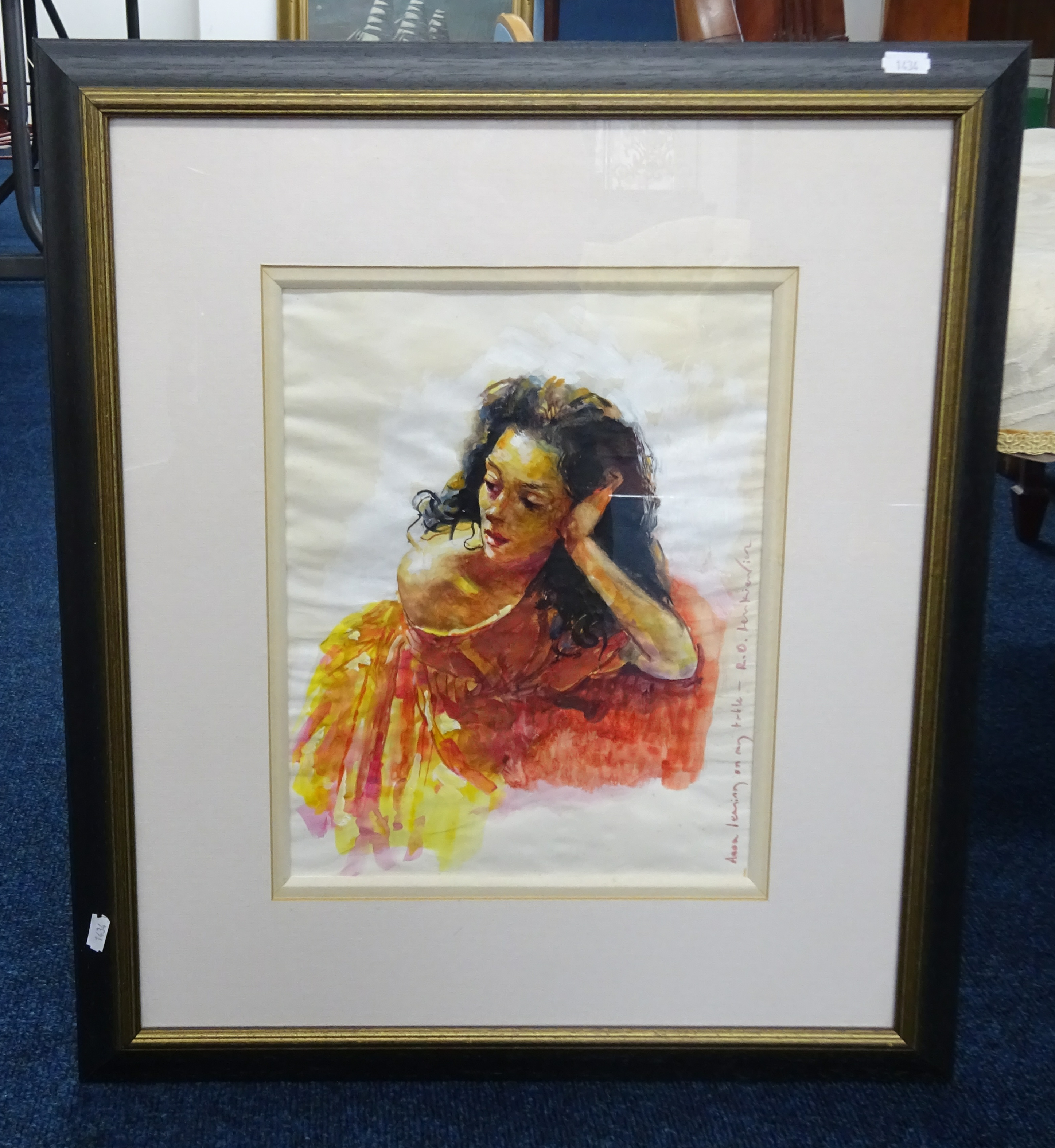 Lot 052 - Robert Lenkiewicz (1941-2002) watercolour 'Anna leaning on my table', signed and titled to image