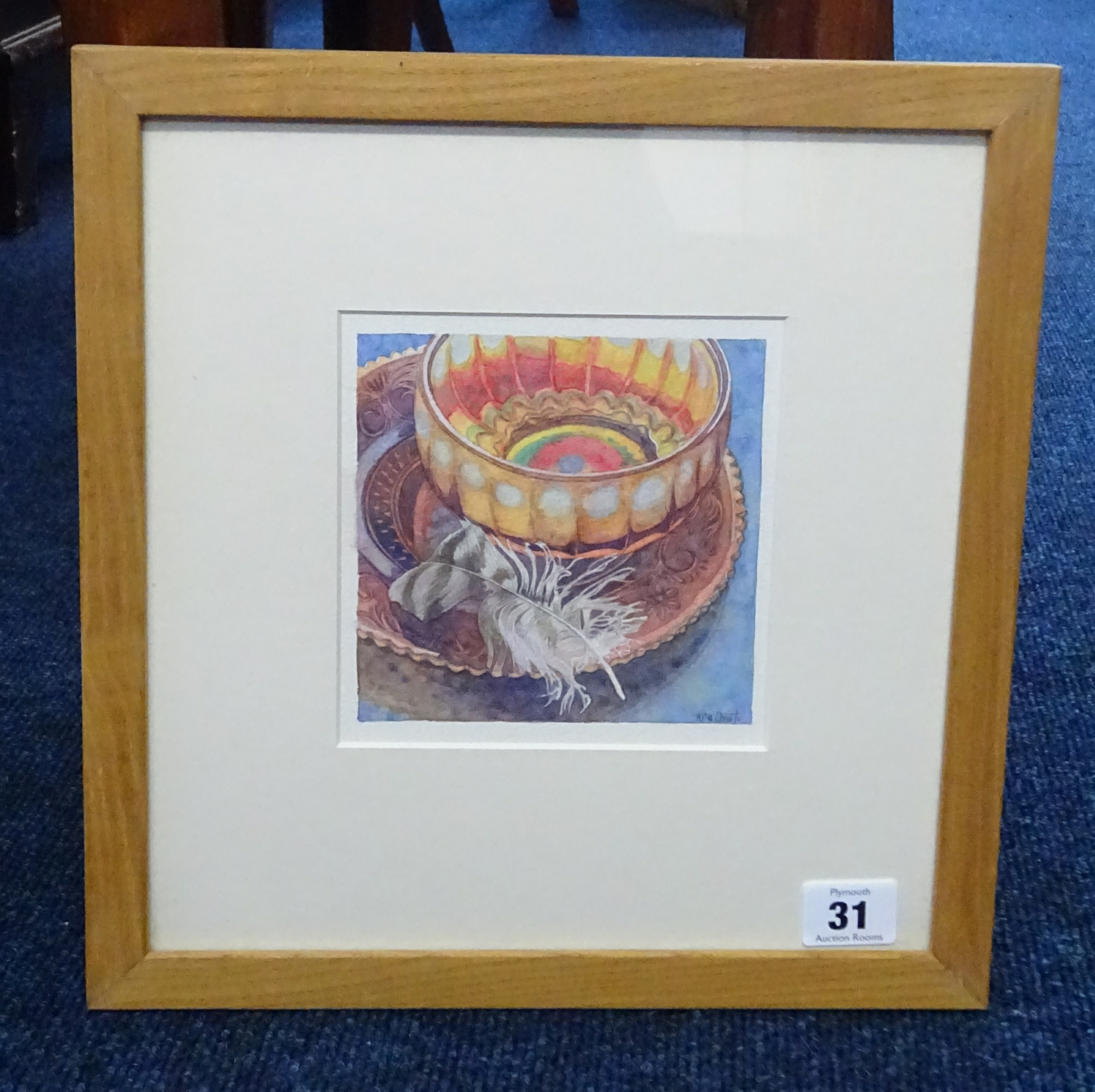Lot 031 - Rita Smith, two watercolours, 'Amber plate and carnival glass bowl' and 'Amber carnival glass bowl',