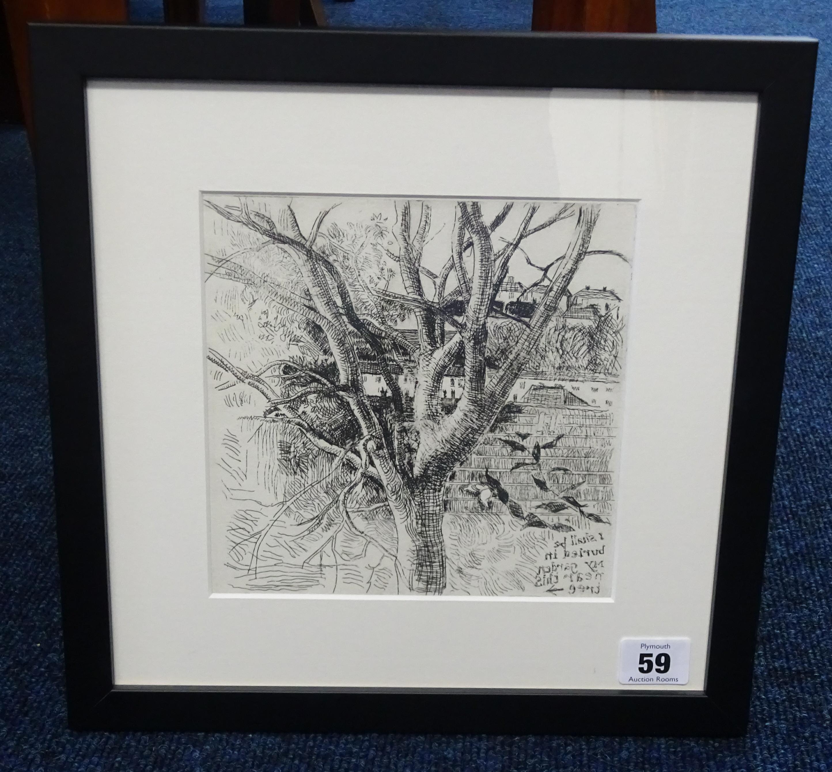 Lot 059 - Robert Lenkiewicz (1941-2002) 'Etching of trees', framed and glazed, 17cm x 17cm.