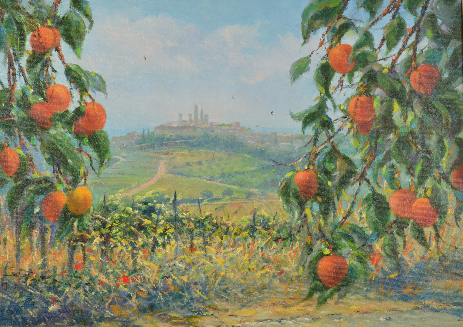 Lot 29 - TED DYER Apricots and Vines, San Gimignano.