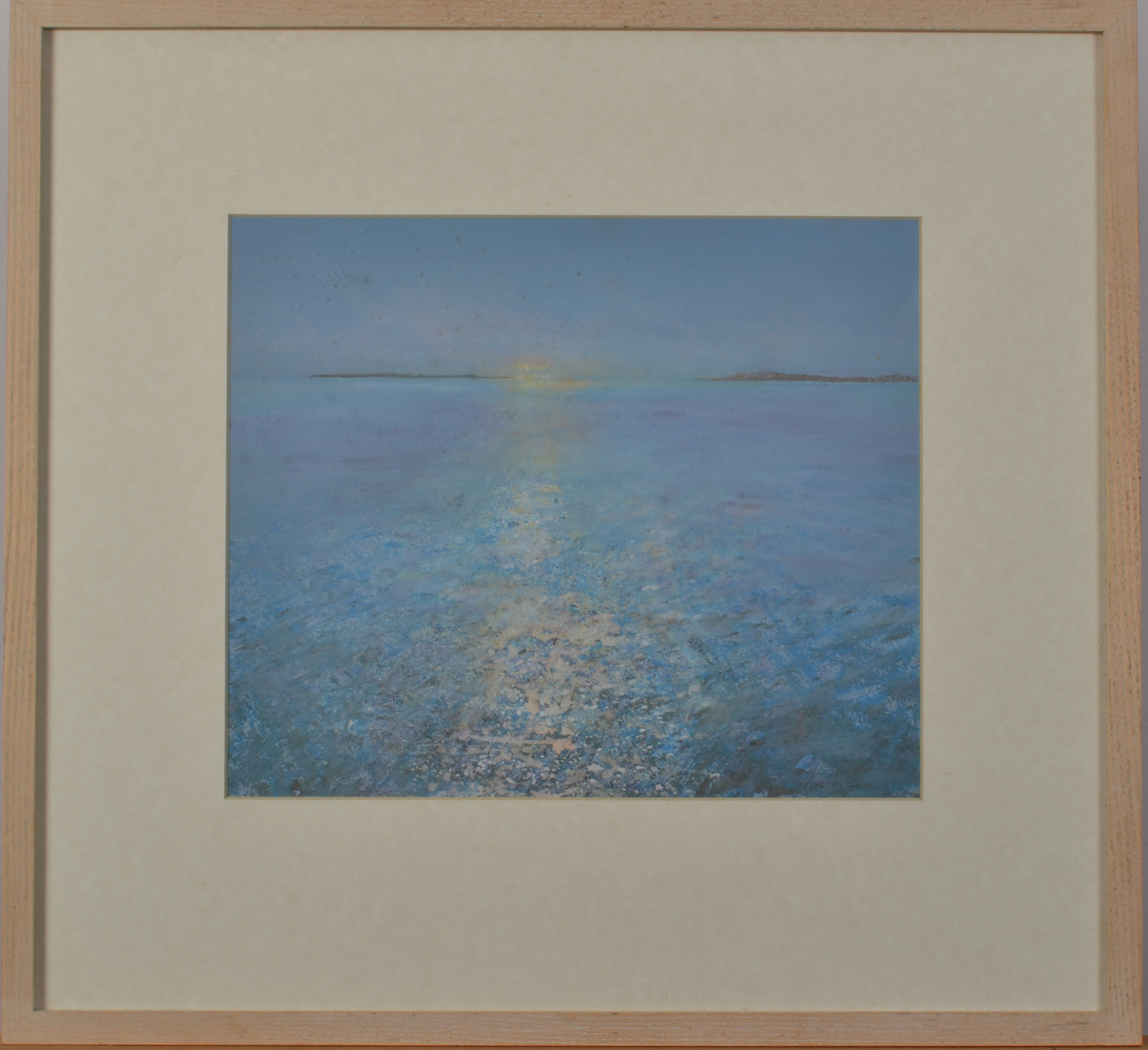 Lot 41 - MIKE HINDLE Pale Blue Sea Mixed media Signed Titled and dated on the back 2000 27 x 32cm