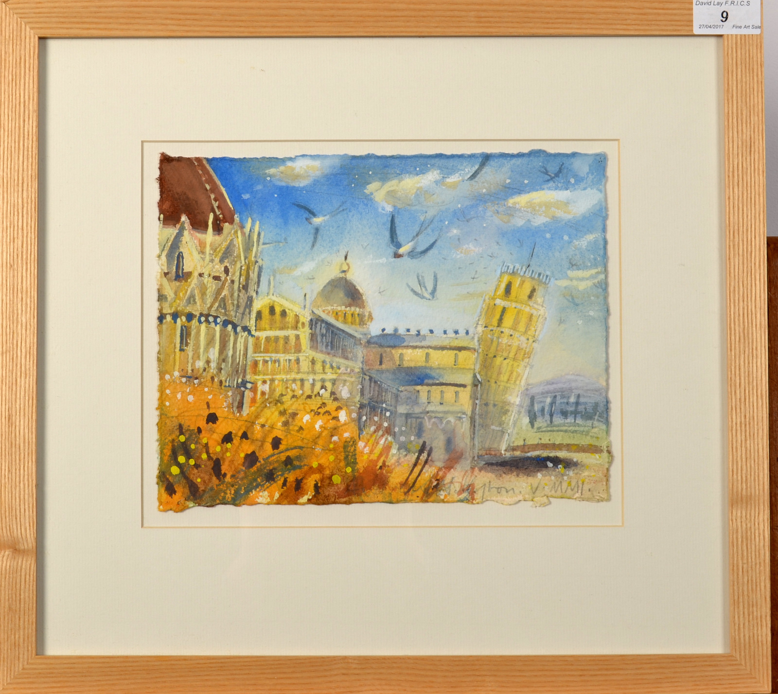 Lot 9 - ANDREW WADDINGTON Evening Swallows Watercolour Signed Dated 2001 20 x 25cm