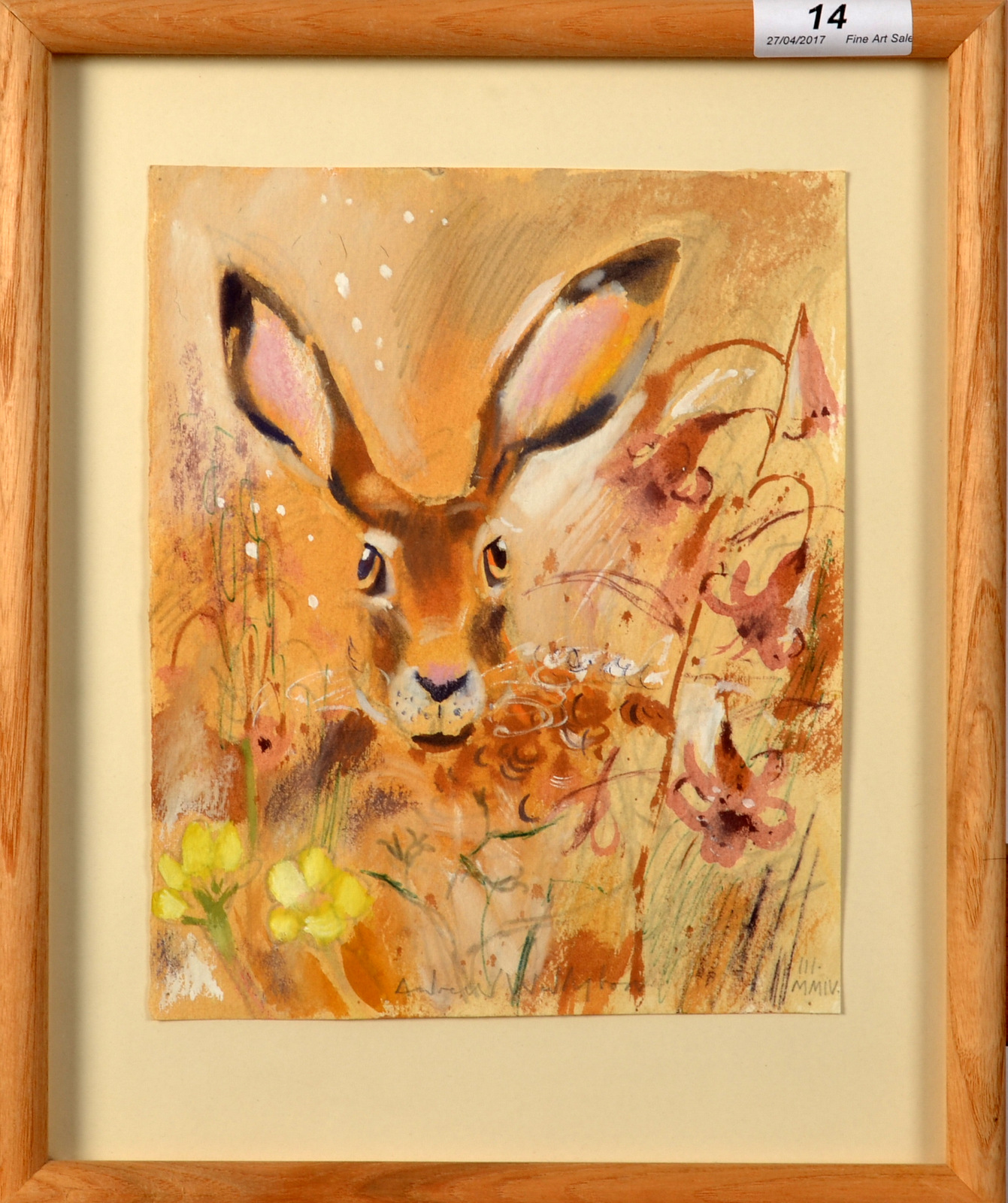 Lot 14 - ANDREW WADDINGTON Ears Watercolour Signed Dated 2004 21 x 17cm