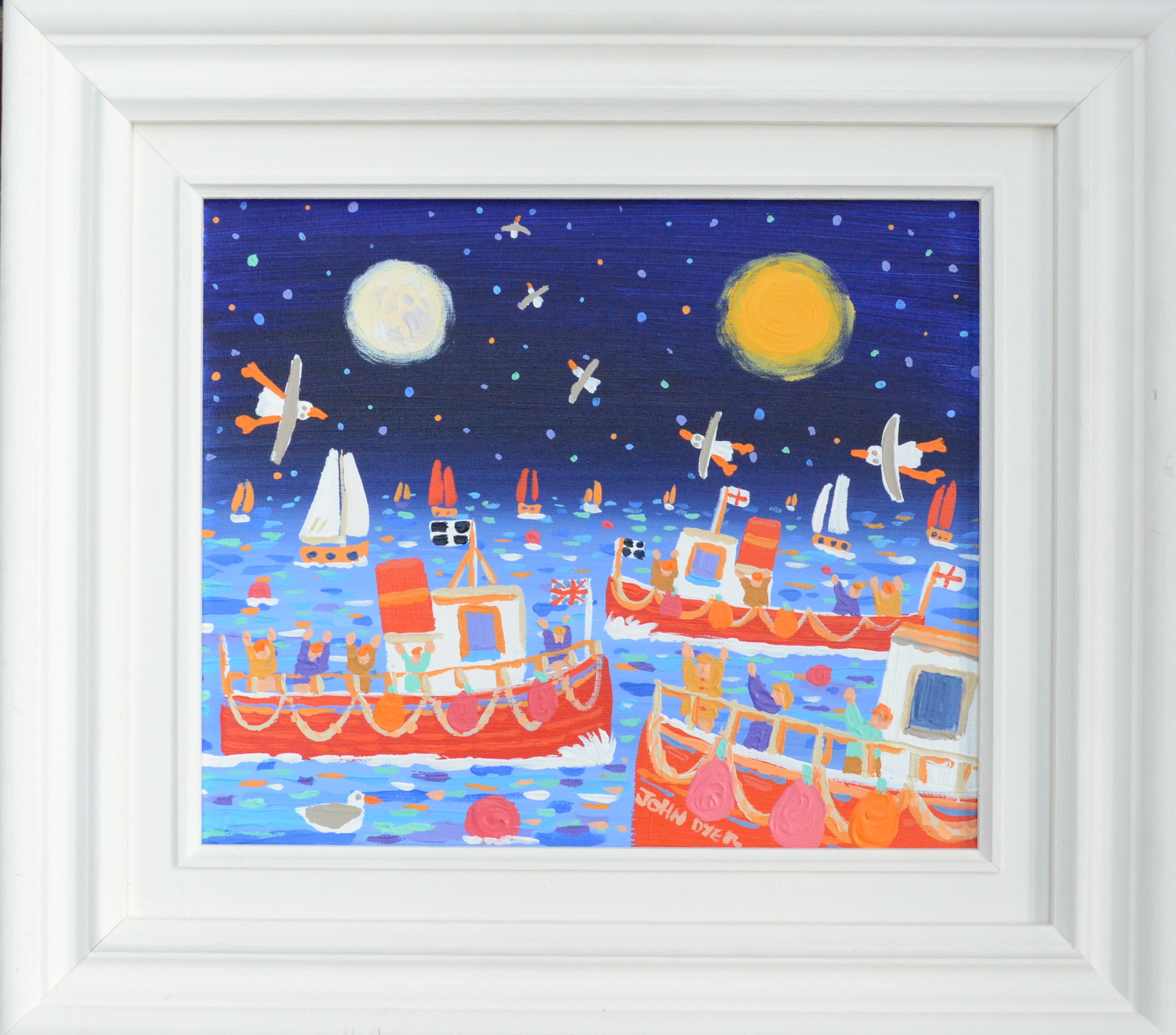 Lot 21 - JOHN DYER Drifting Together Oil on canvas Signed Titled on the back 26 x 31cm