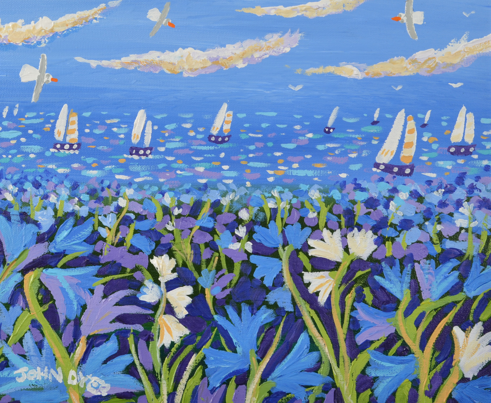 Lot 22 - JOHN DYER Spring Sailing Oil on canvas Signed Dated on the back 25 x 30cm