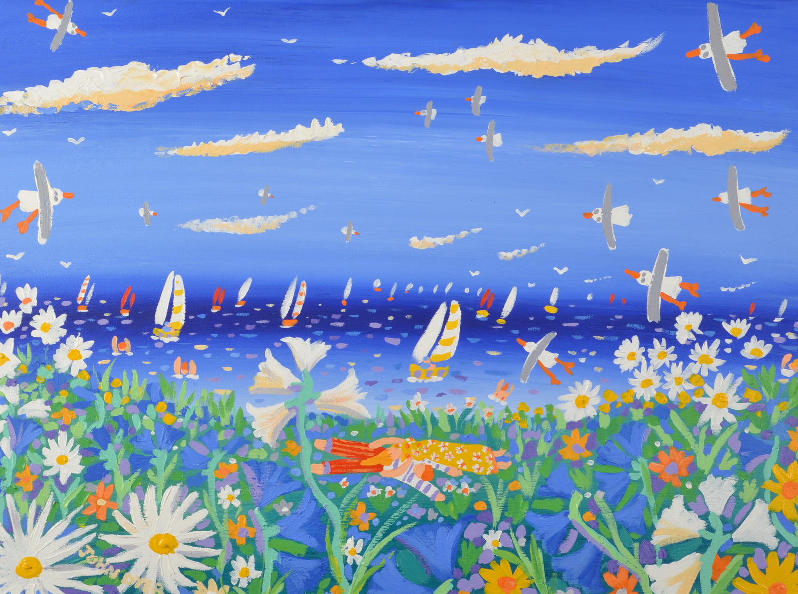 Lot 15 - JOHN DYER Daydreaming on the Headland Acrylic on canvas Signed Titled on the back 44 x 60cm
