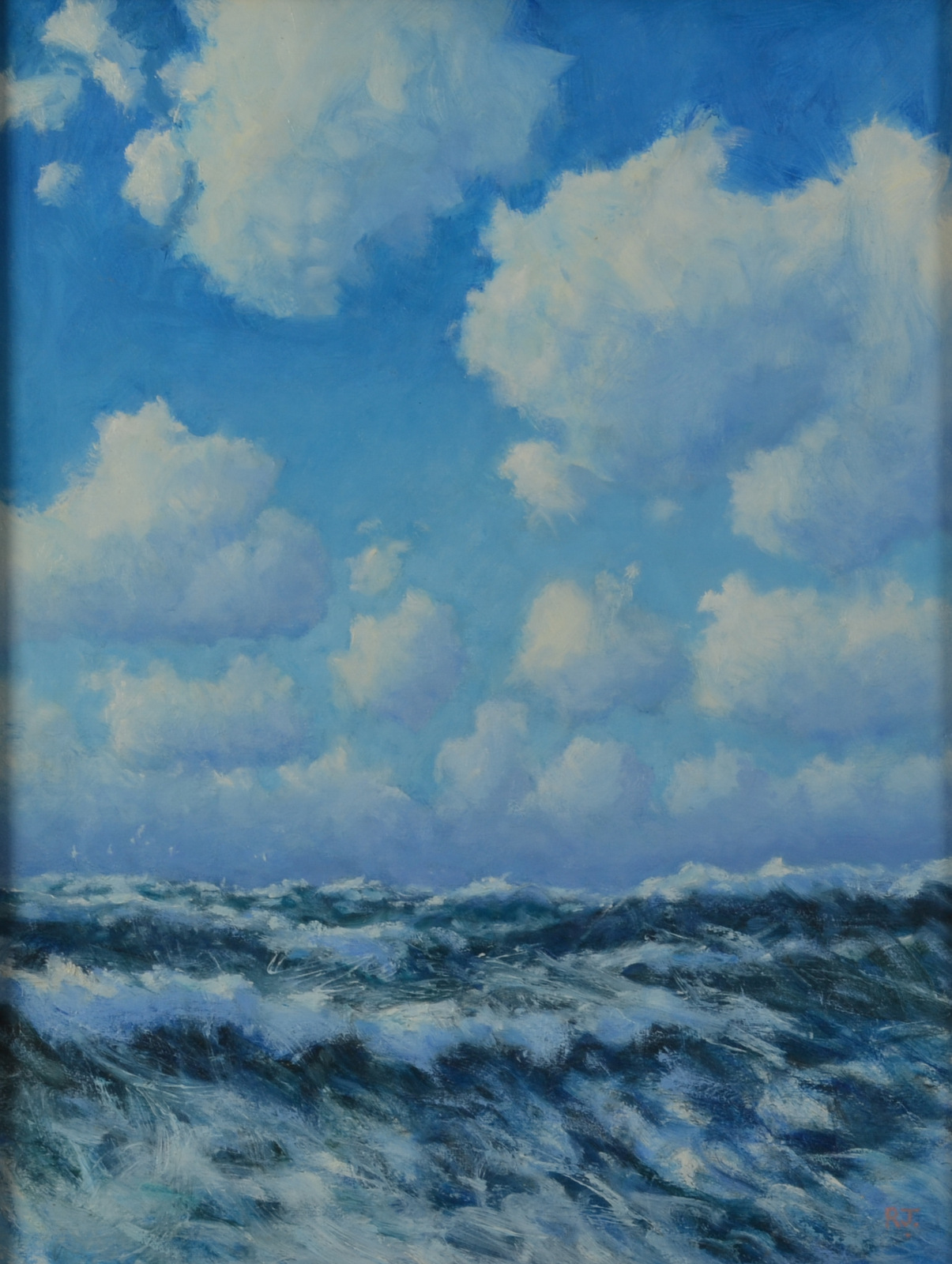 Lot 3 - ROBERT JONES Sea and Clouds Oil on Canvas laid down Signed Dated and titled on the back 2002 55 x