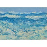 Lot 4 - ROBERT JONES Stormy Day Oil on board Signed Titled and dated on the back 2002 16 x 23cm