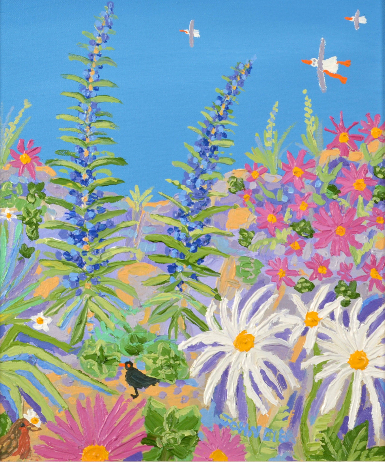 Lot 23 - JOHN DYER Paradise Plants and Birds Oil on canvas Signed Dated on the back 31 x 26cm