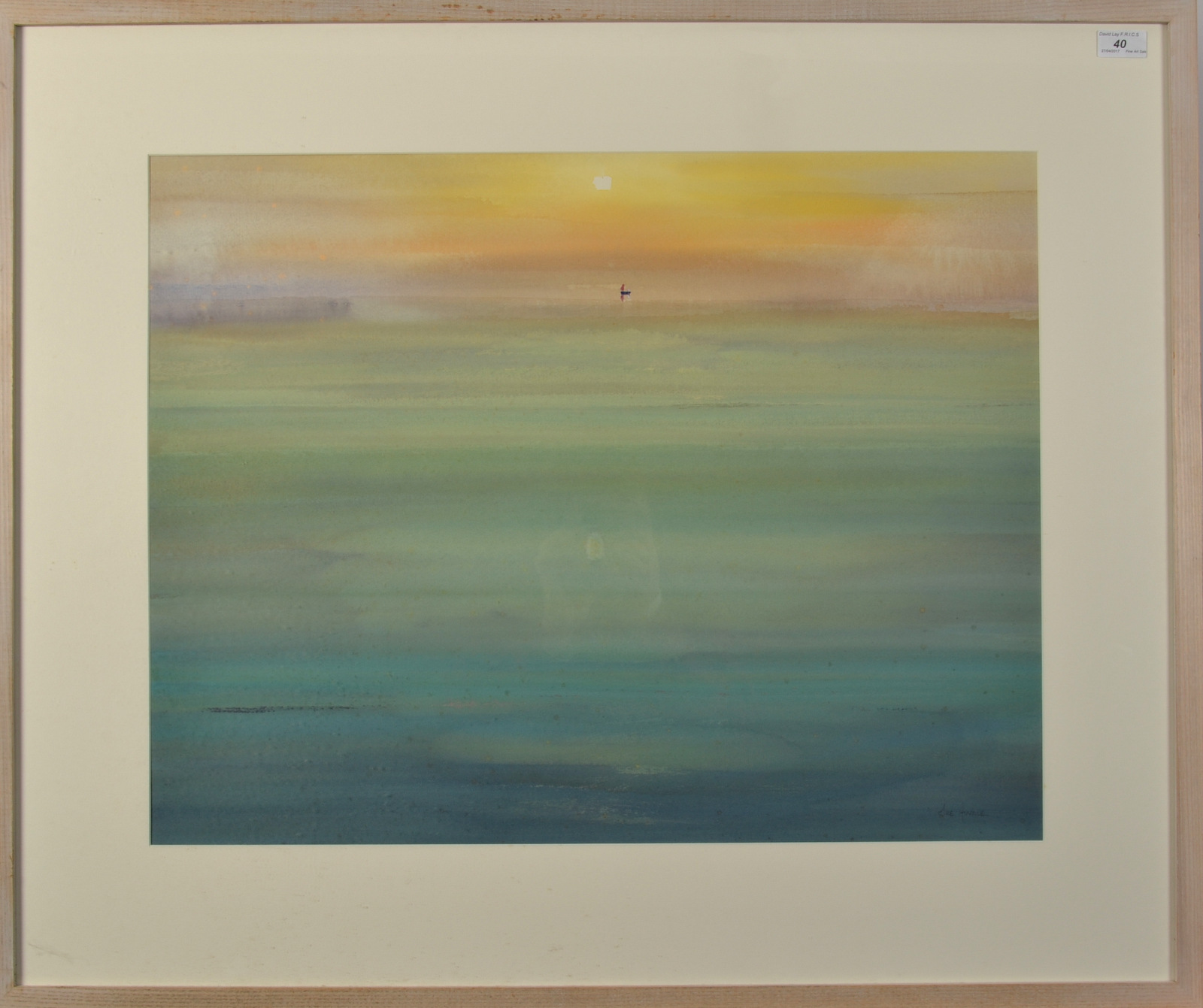 Lot 40 - MIKE HINDLE Sunrise Watercolour Signed Titled and dated on the back '01 55 x 70cm