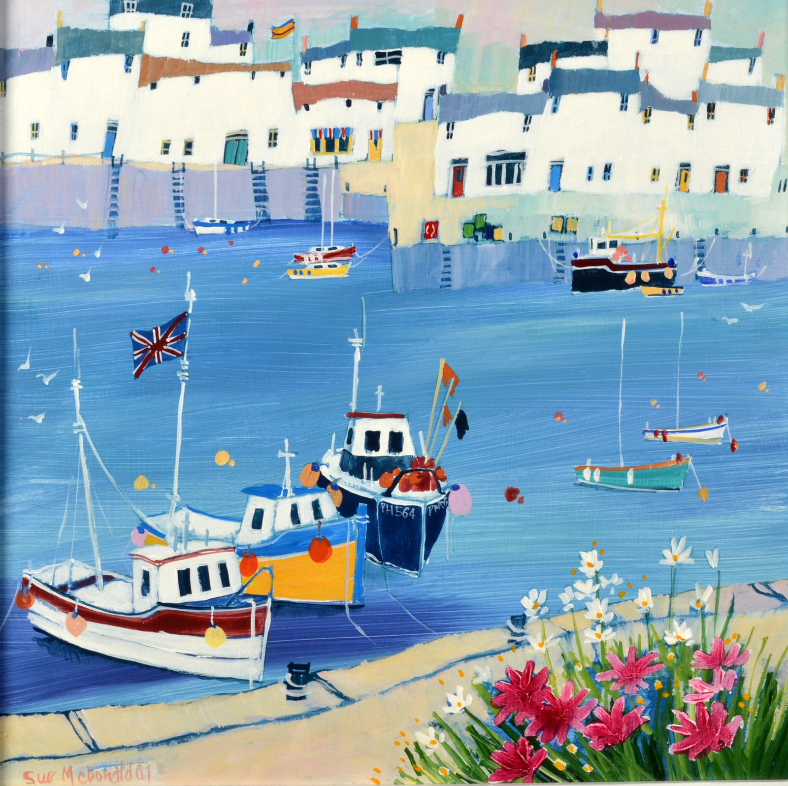 Lot 25 - SUE McDONALD Flowers on the Quay Acrylic on board Signed and dated '01 Titled on the back 30 x 30cm