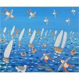 Lot 20 - JOHN DYER All at Sea Oil on canvas Signed Titled on the back 16 x 31cm