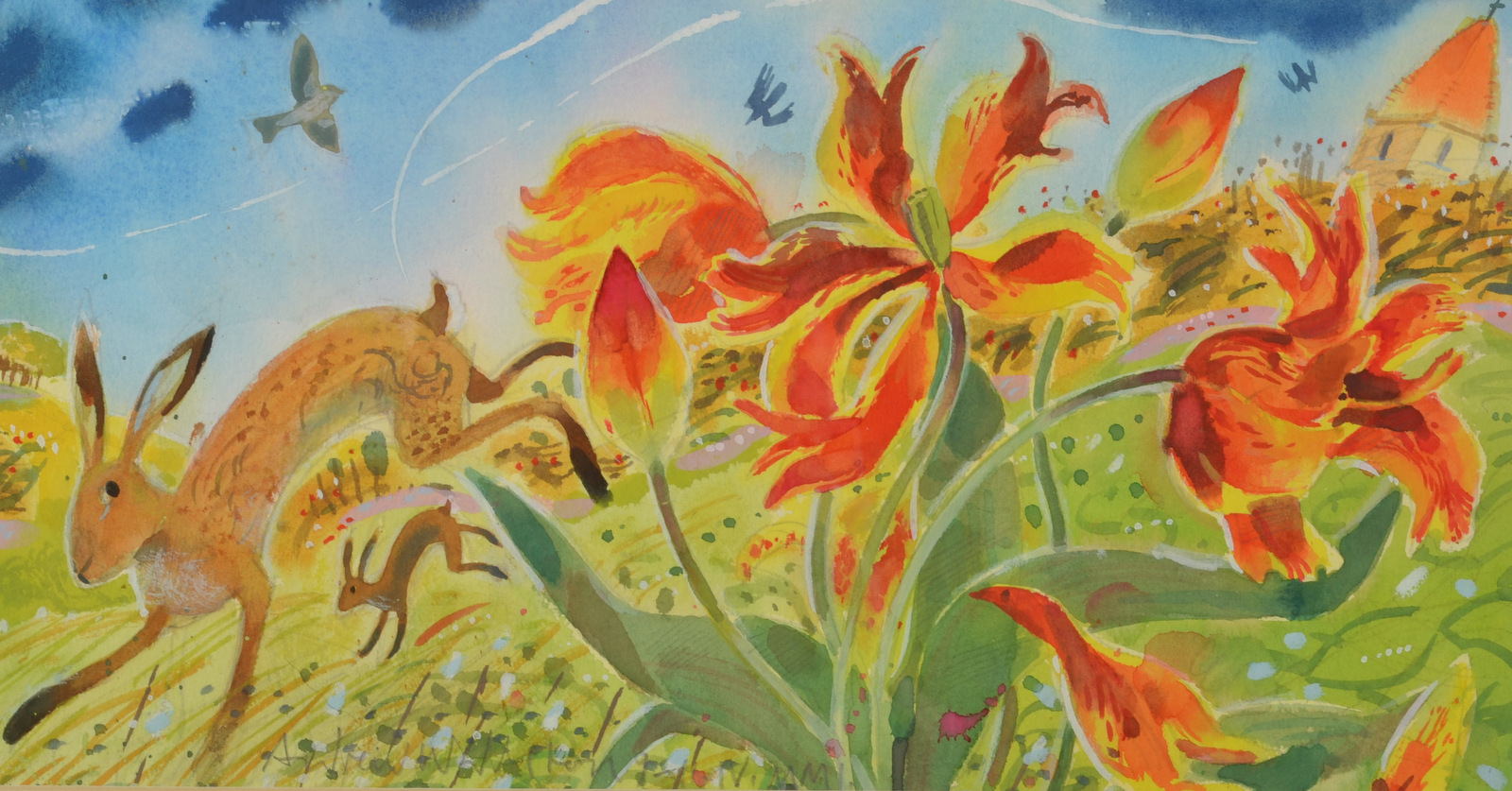 Lot 12 - ANDREW WADDINGTON Hare and Tulips Watercolour Signed Dated 2001 19 x 36cm