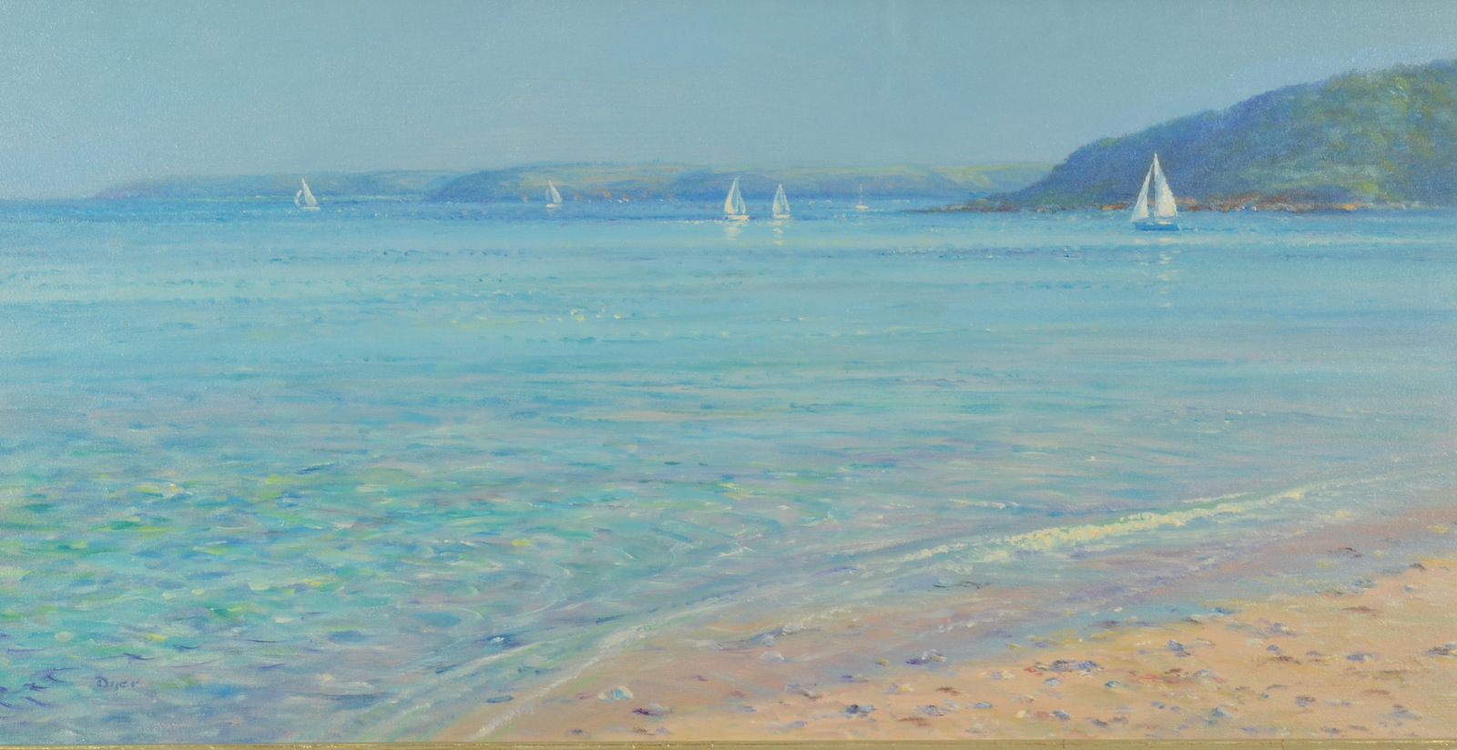 Lot 30 - TED DYER Sailing of Penance Point Oil on board Signed 26 x 51cm Condition report: