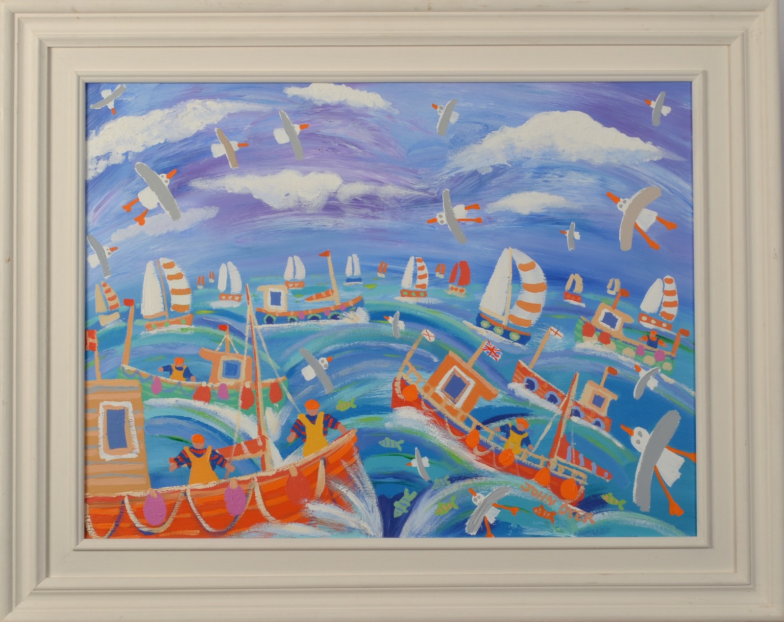 Lot 17 - JOHN DYER Boats and Waves Oil on Canvas Signed Titled on the back 45 x 60cm