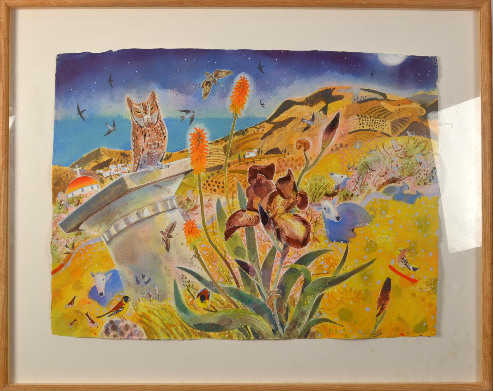 Lot 8 - ANDREW WADDINGTON At Nightfall as the Sea Darkens Watercolour Signed Dated 2001 Titled on the