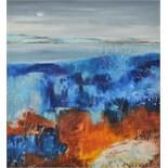 Lot 60 - AMANDA HOSKIN Winter Moon II, Bodmin Moor Oil on board Signed Titled,
