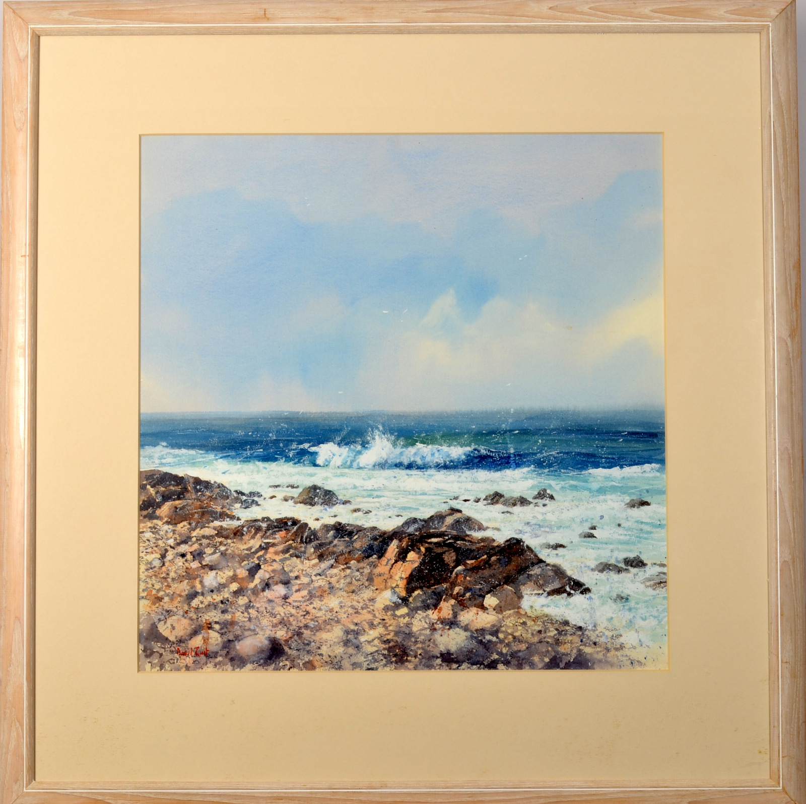 Lot 2 - DAVID RUST Incoming Wave Watercolour Signed 57 x 57cm