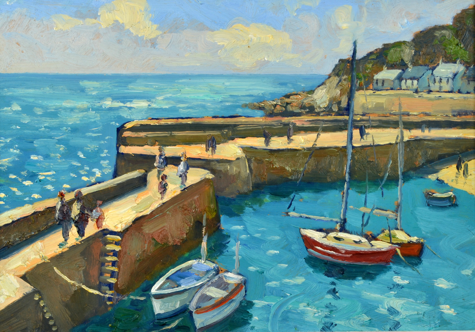 Lot 5 - BOB VIGG Mousehole Harbour Oil on board Signed 23 x 34cm