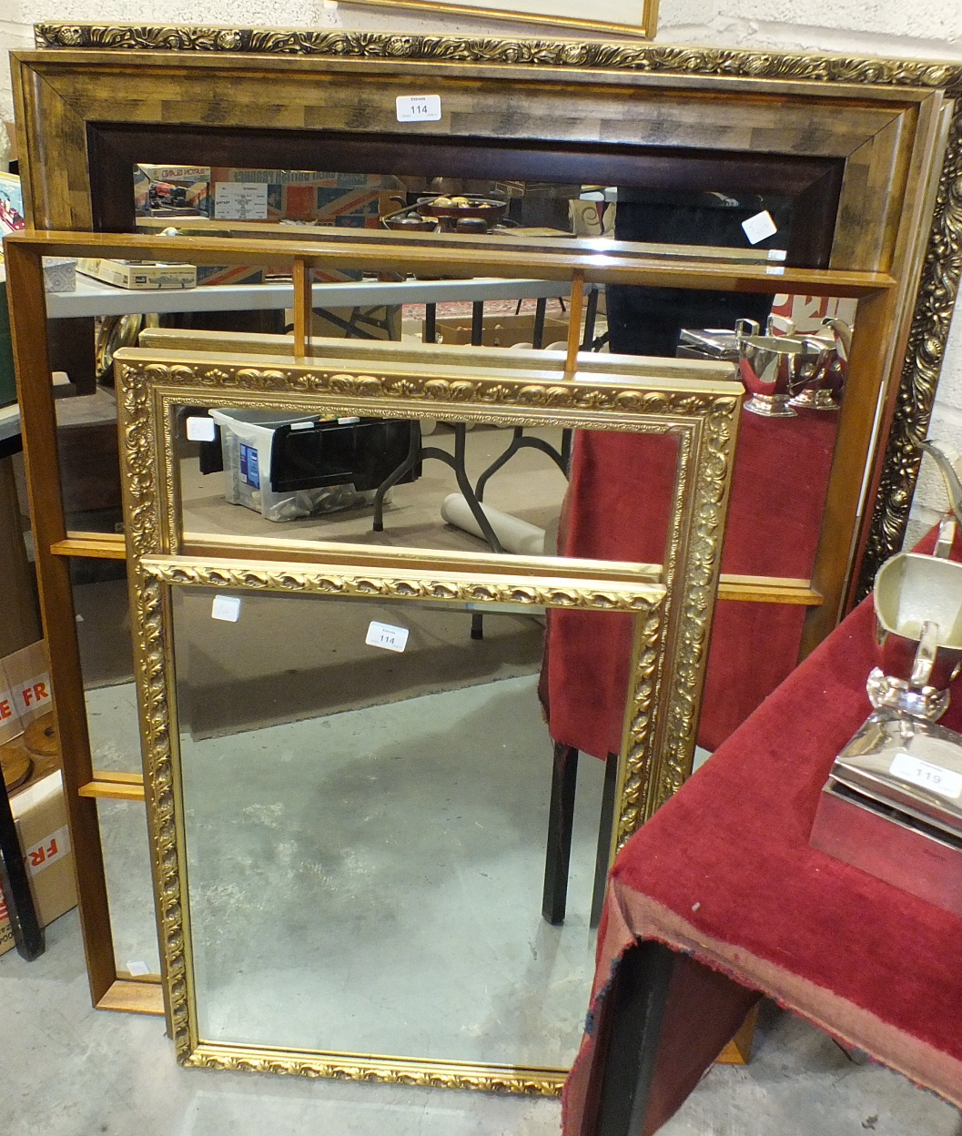 Lot 114 - A collection of six modern wall mirrors, largest 86 x 112cm, (6).