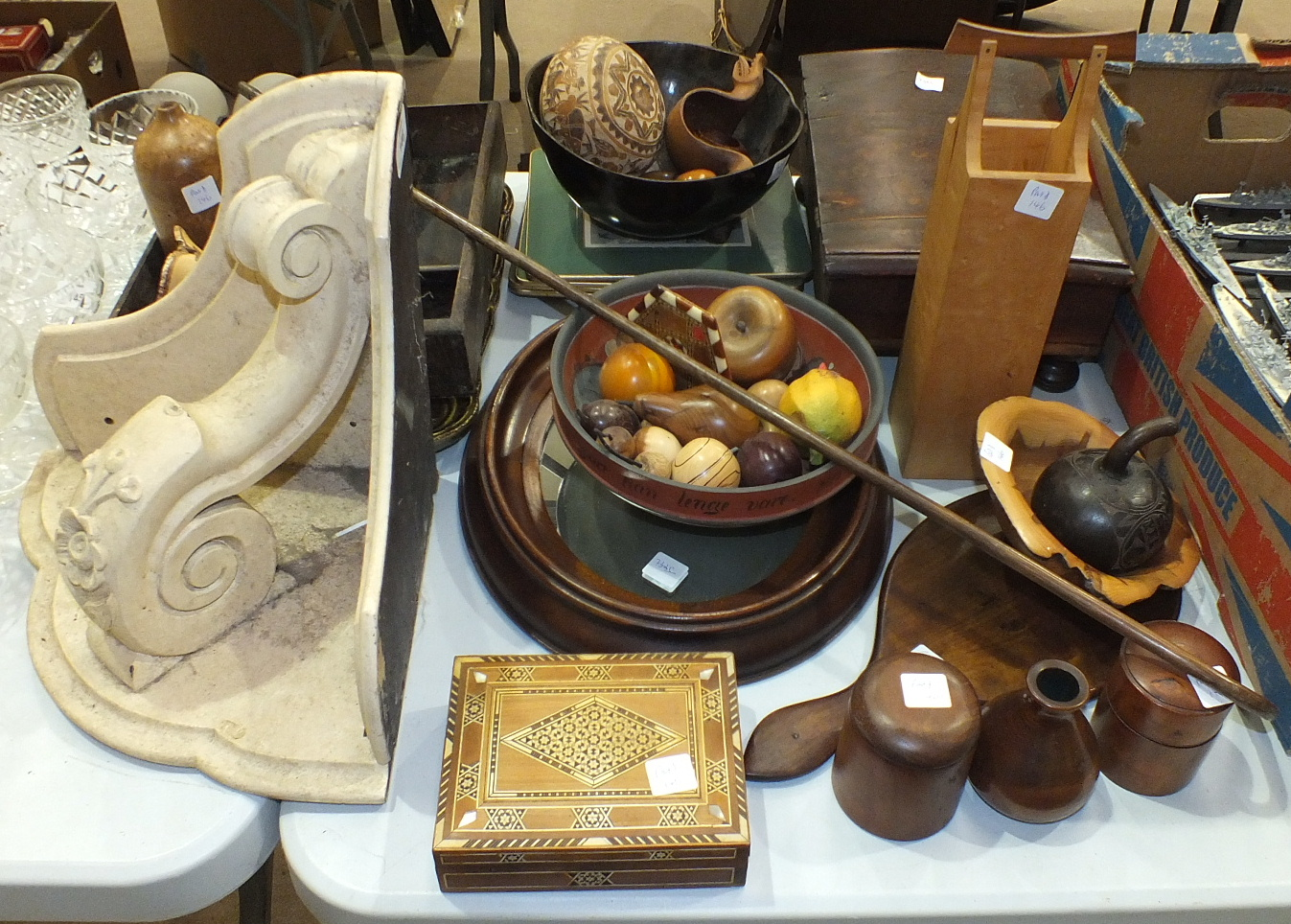 Lot 146 - A stained hardwood box, 32cm, a painted hardwood corner wall bracket and other wooden items.