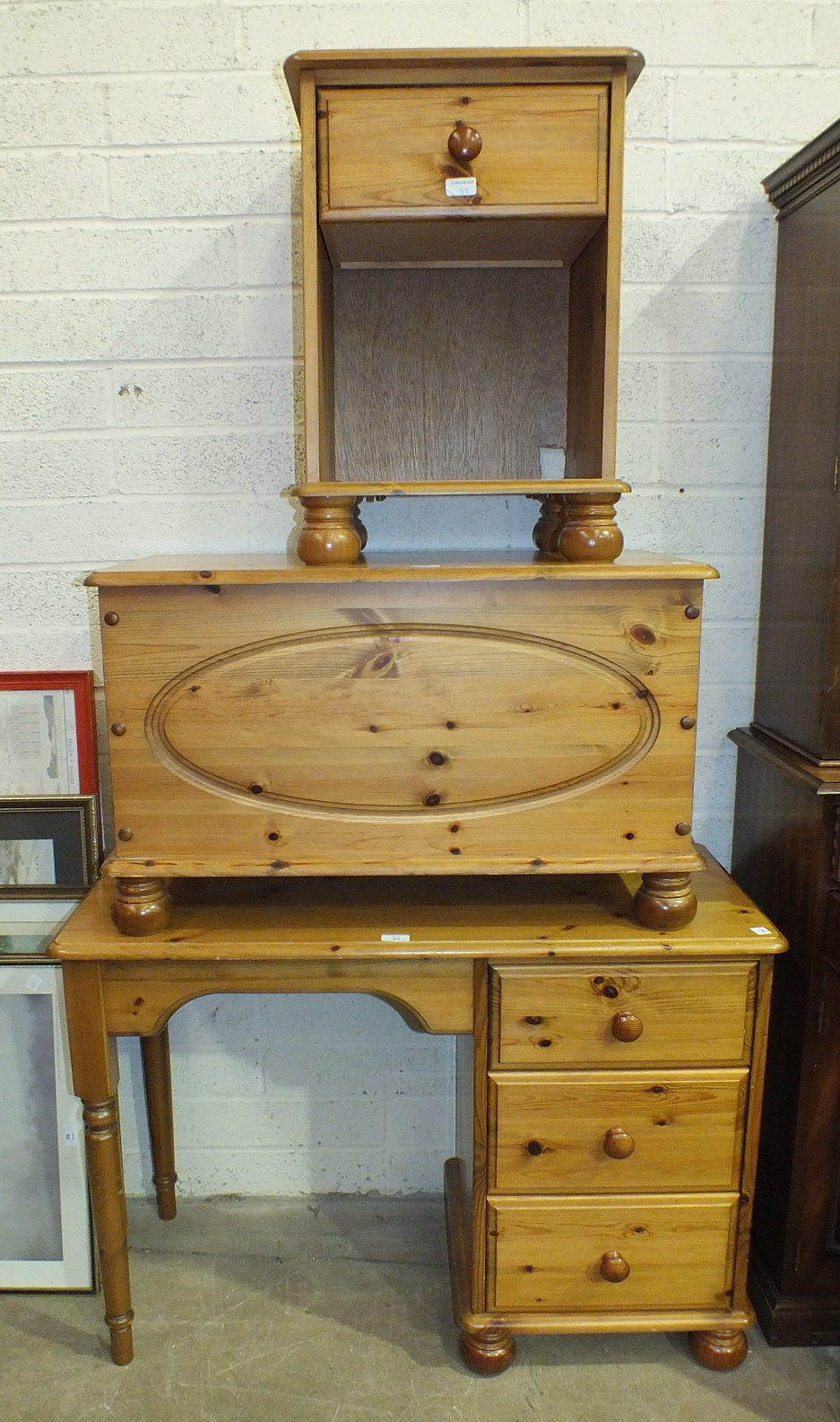Lot 52 - A modern pine dressing table fitted with three side drawers, 102cm wide, a similar blanket box, 83cm