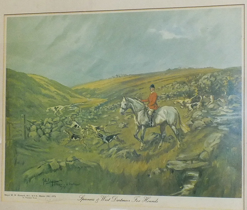Lot 46 - After John King, 'Spooner and West Dartmoor Fox Hounds near Wistman's Wood', signed by Michael