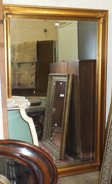 Lot 48 - A large gilt frame wall mirror, 176 x 115cm.