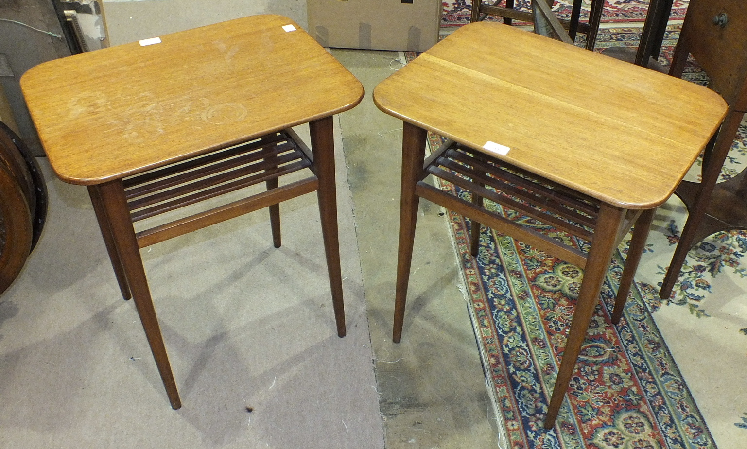 Lot 31 - A pair of utility wooden occasional tables with slatted undertier, 52.5 x 39cm, 60cm high, a blue