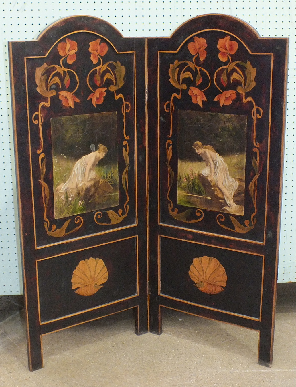 Lot 47 - An early-20th century Art-Nouveau-style two-fold screen decorated with over-painted prints of