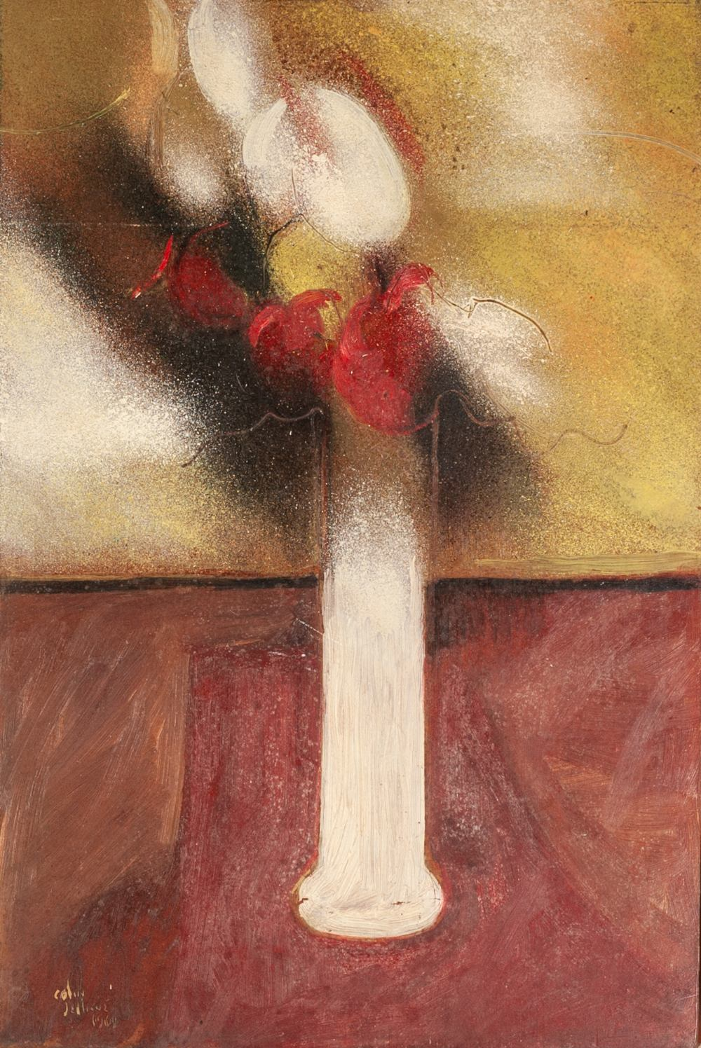 Lot 5 - COLIN JELLICOE (1942 - 2018) OIL PAINTING ON BOARD 'Flowers in a Tall Vase' Signed and dated 1969,