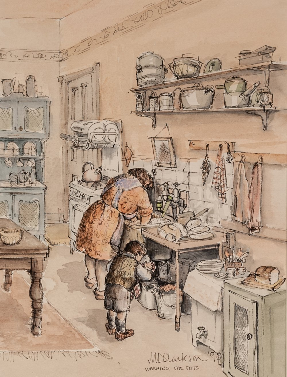 MARGARET CLARKSON (b. 1941) PEN AND BLACK INK AND WATERCOLOUR 'Washing the Pots' Signed, inscribed