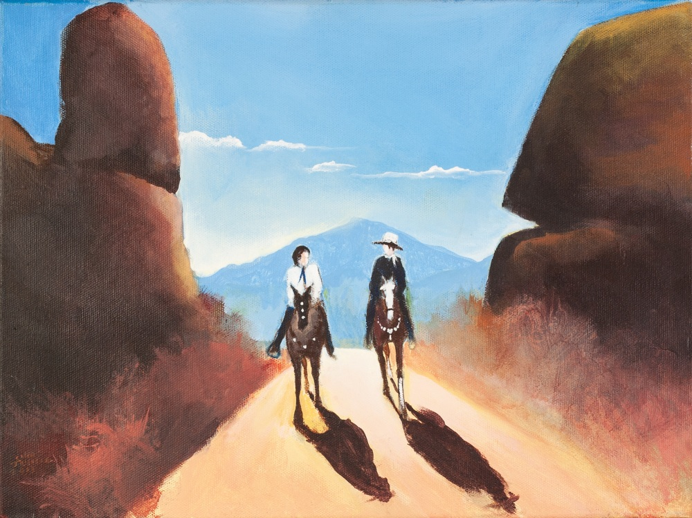 COLIN JELLICOE (1942 - 2018) OIL PAINTING ON CANVAS 'Riders in the Rockies' Signed and dated 2013