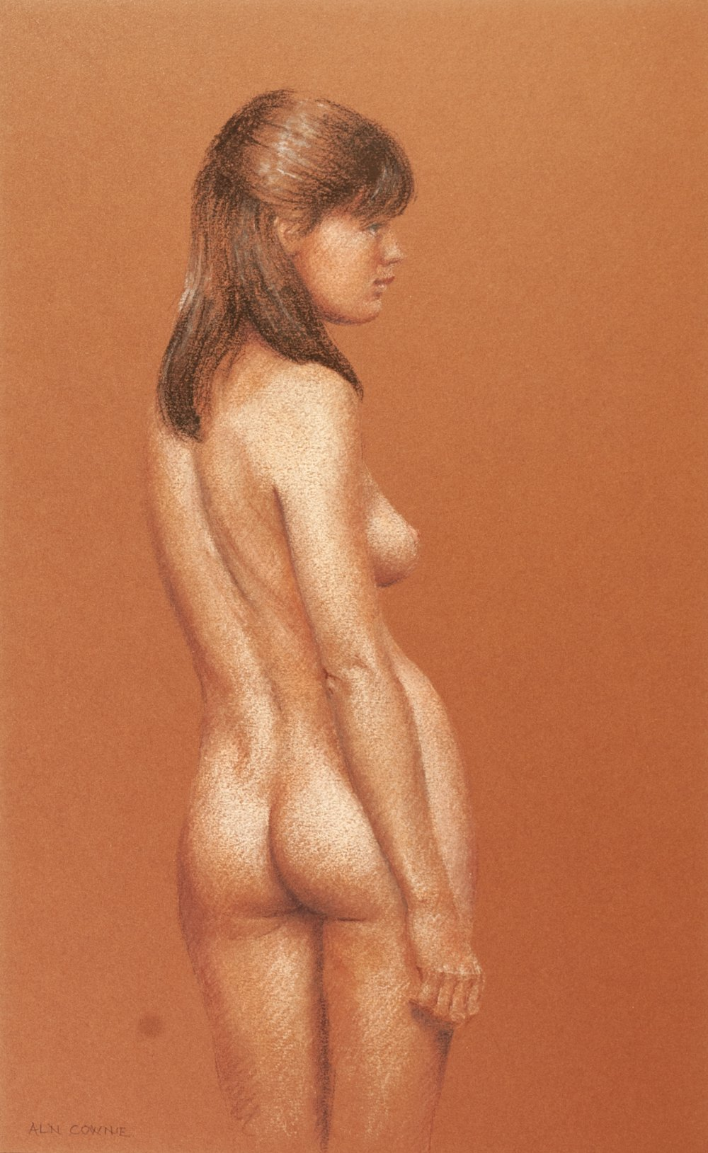 Lot 56 - ALN COWNIE PASTEL DRAWING ON BROWN KEAY COLOUR PAPER Standing female nude Signed lower left,