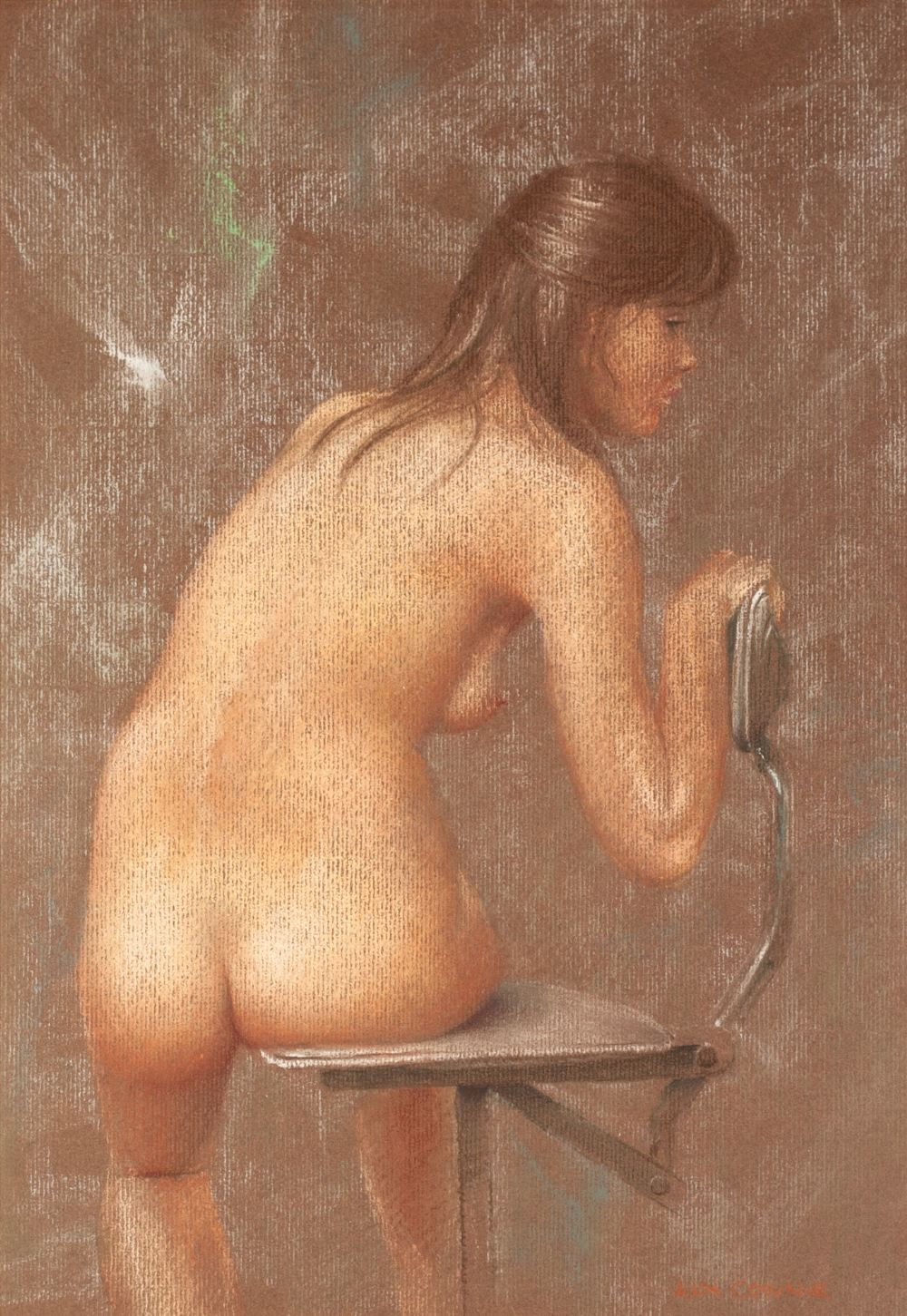 Lot 57 - ALN COWNIE PASTEL DRAWING ON INGRES PAPER 'Seated female nude, back view' Signed lower right,